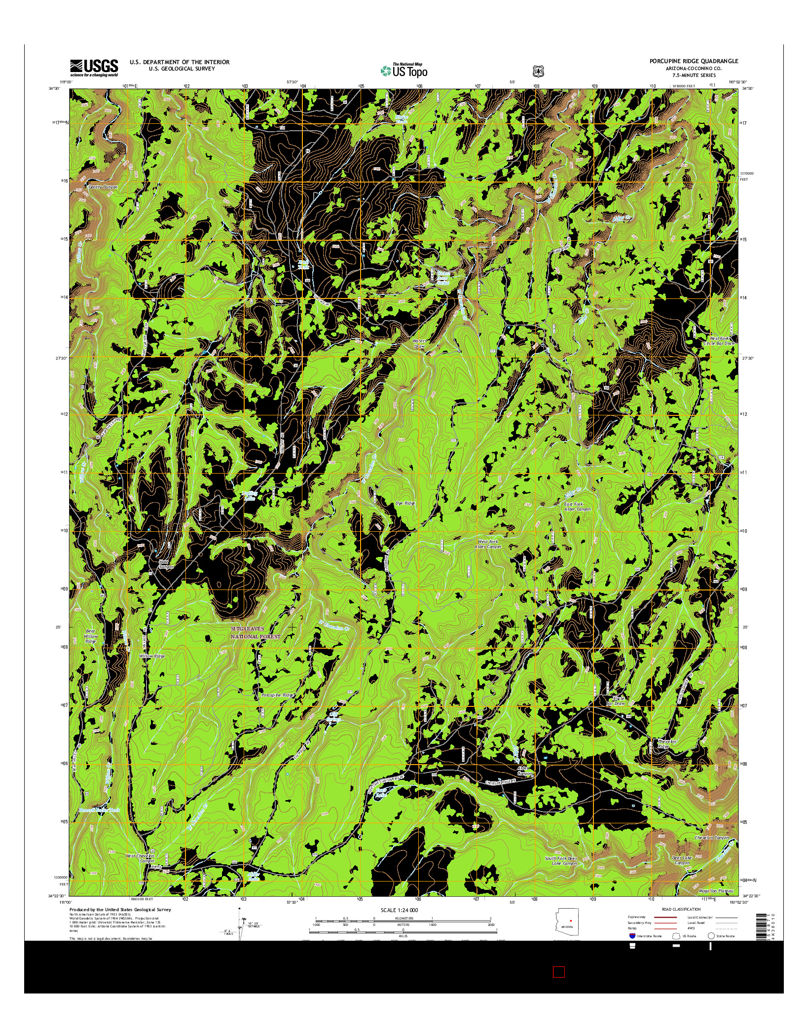 USGS US TOPO 7.5-MINUTE MAP FOR PORCUPINE RIDGE, AZ 2014