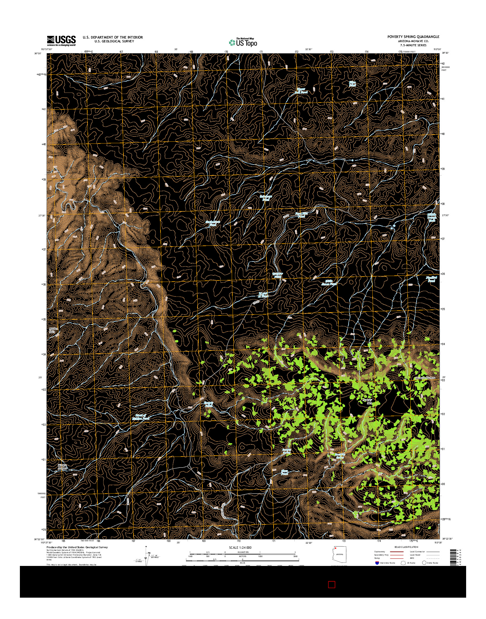 USGS US TOPO 7.5-MINUTE MAP FOR POVERTY SPRING, AZ 2014