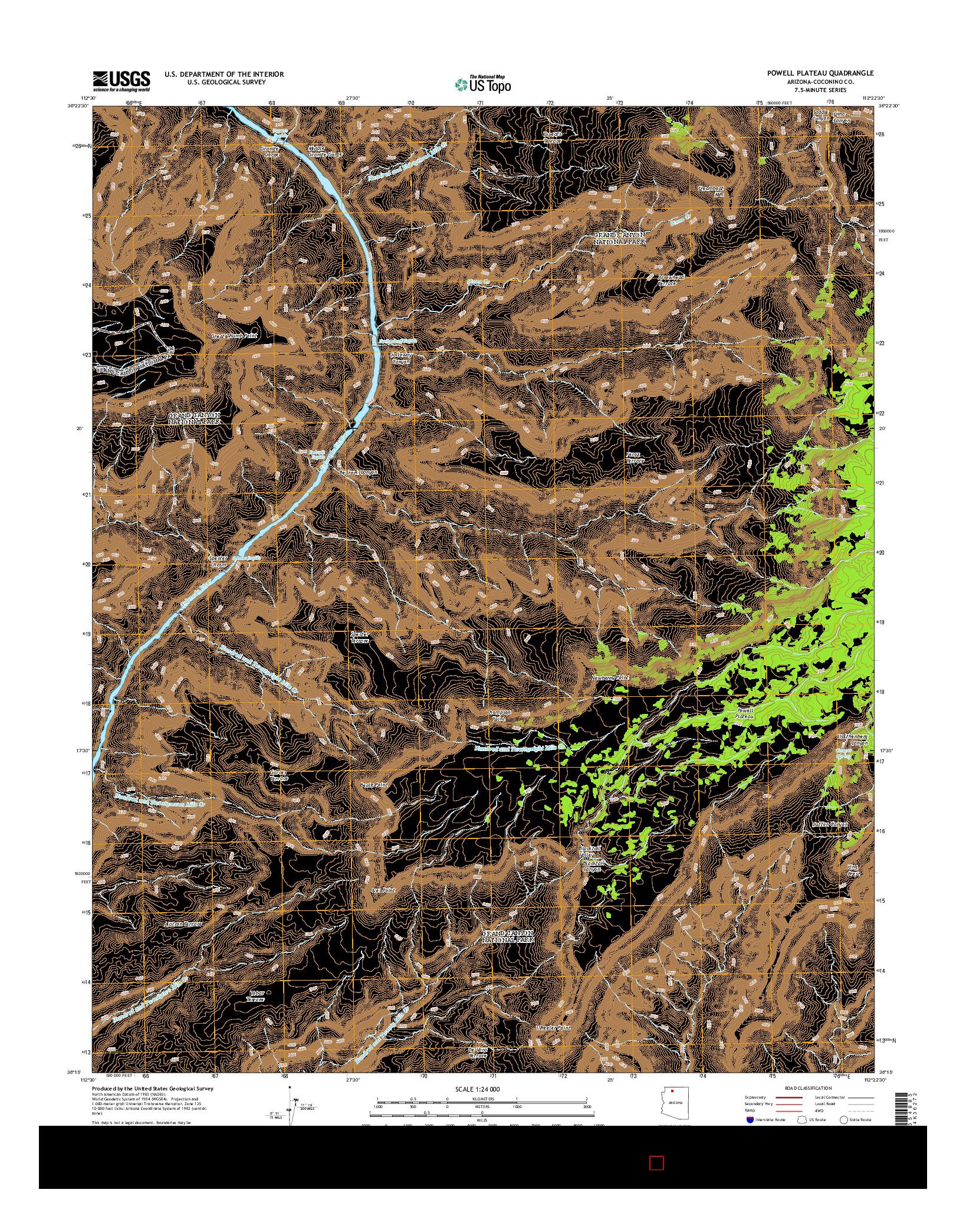 USGS US TOPO 7.5-MINUTE MAP FOR POWELL PLATEAU, AZ 2014