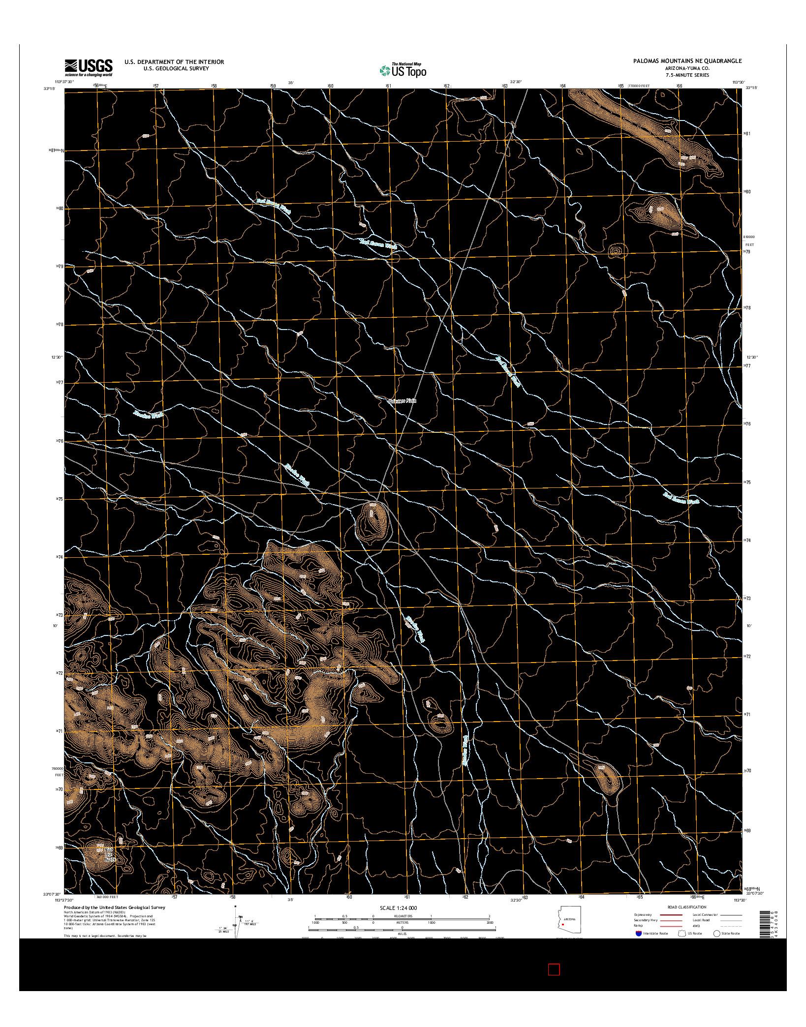 USGS US TOPO 7.5-MINUTE MAP FOR PALOMAS MOUNTAINS NE, AZ 2014