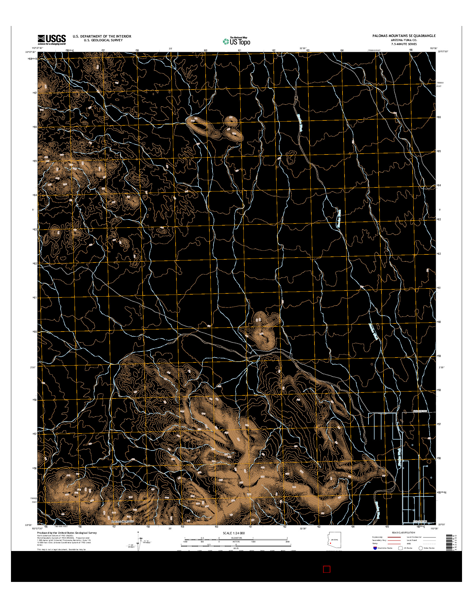 USGS US TOPO 7.5-MINUTE MAP FOR PALOMAS MOUNTAINS SE, AZ 2014