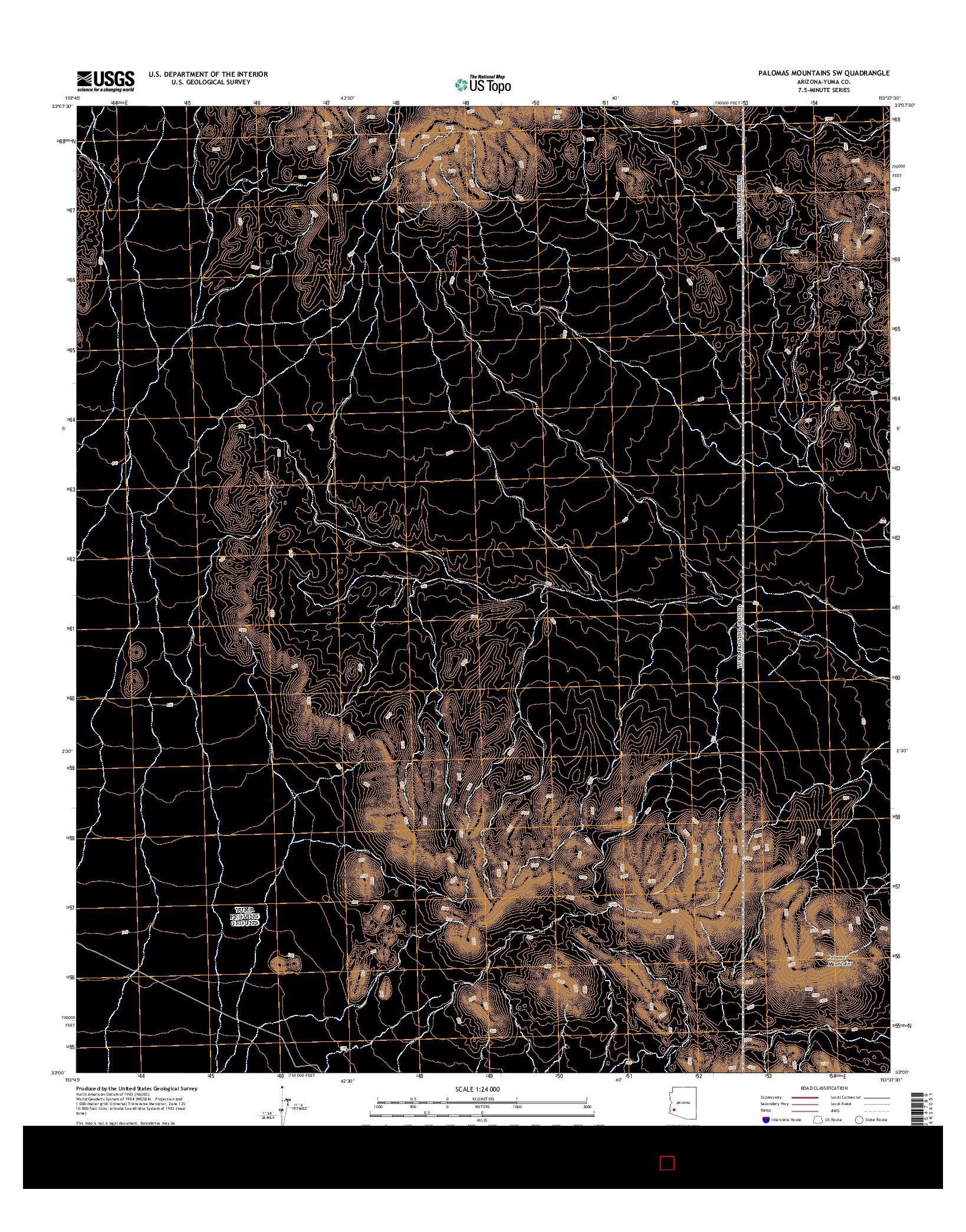 USGS US TOPO 7.5-MINUTE MAP FOR PALOMAS MOUNTAINS SW, AZ 2014