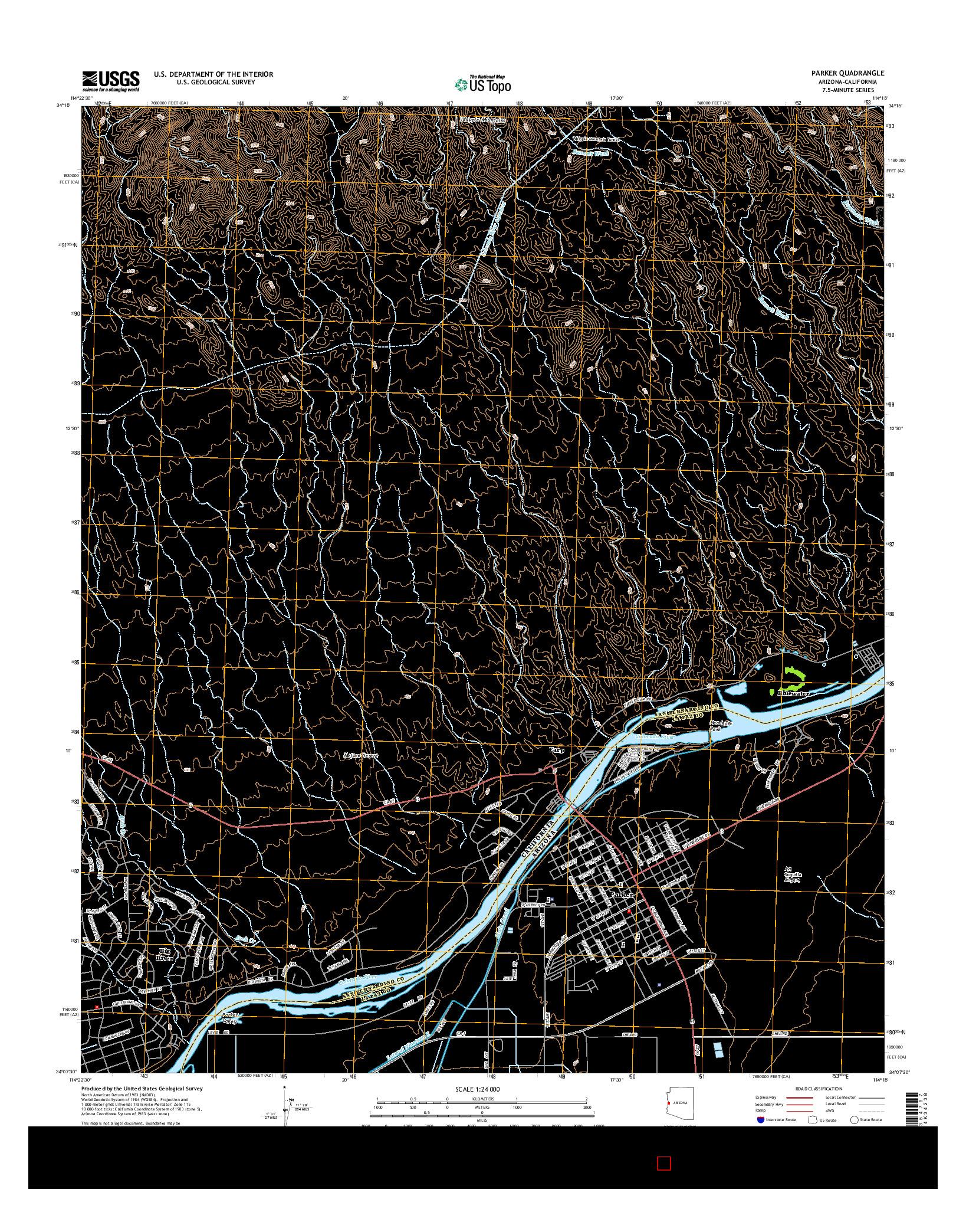 USGS US TOPO 7.5-MINUTE MAP FOR PARKER, AZ-CA 2014