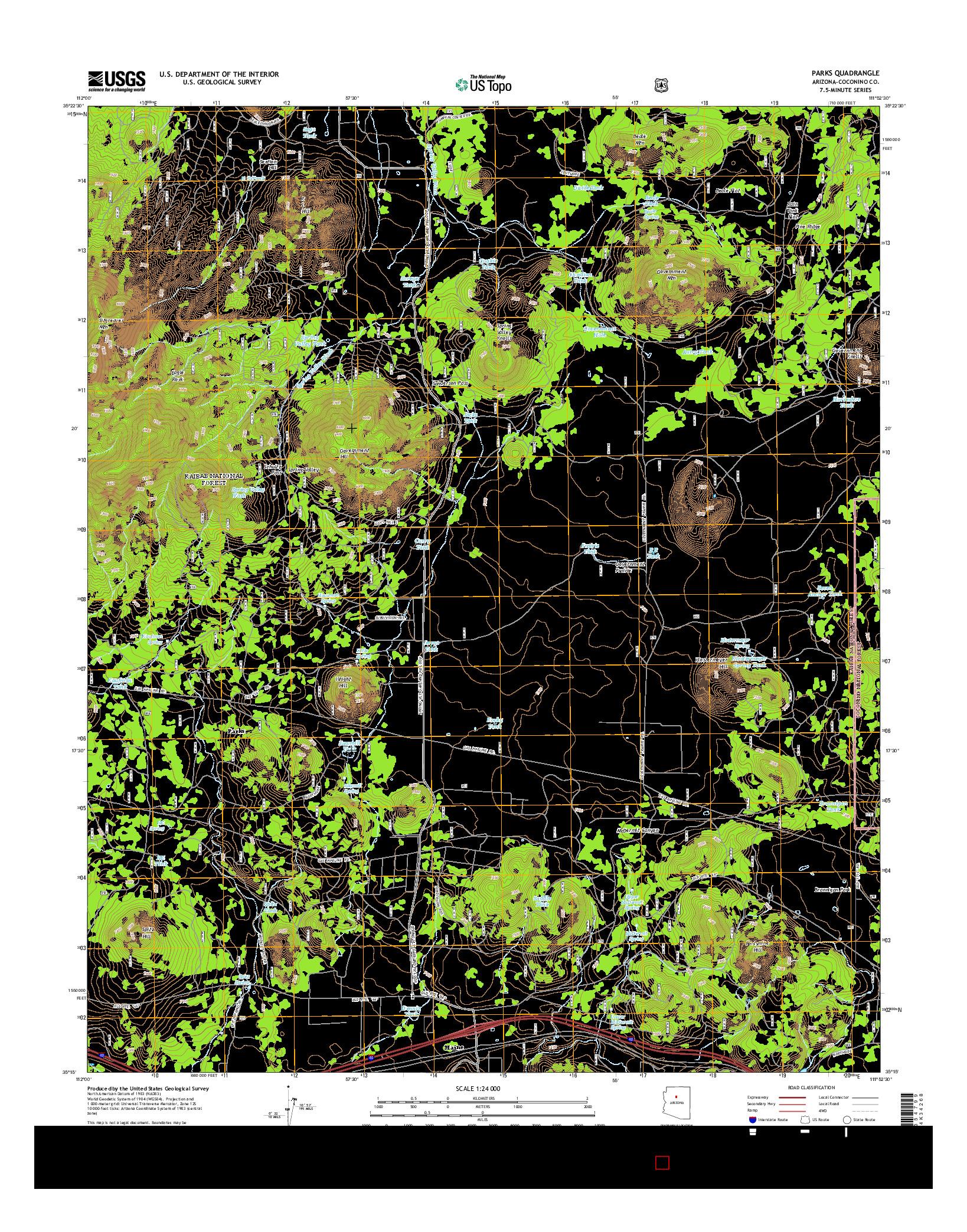 USGS US TOPO 7.5-MINUTE MAP FOR PARKS, AZ 2014