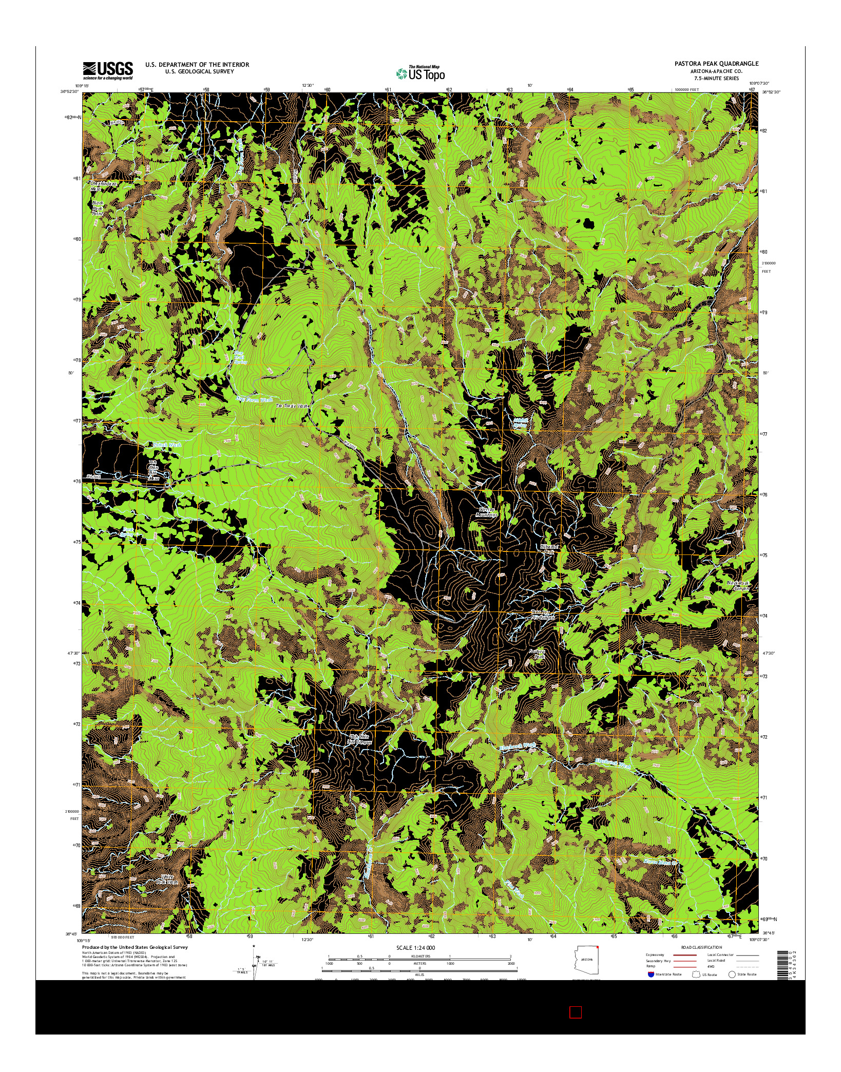 USGS US TOPO 7.5-MINUTE MAP FOR PASTORA PEAK, AZ 2014