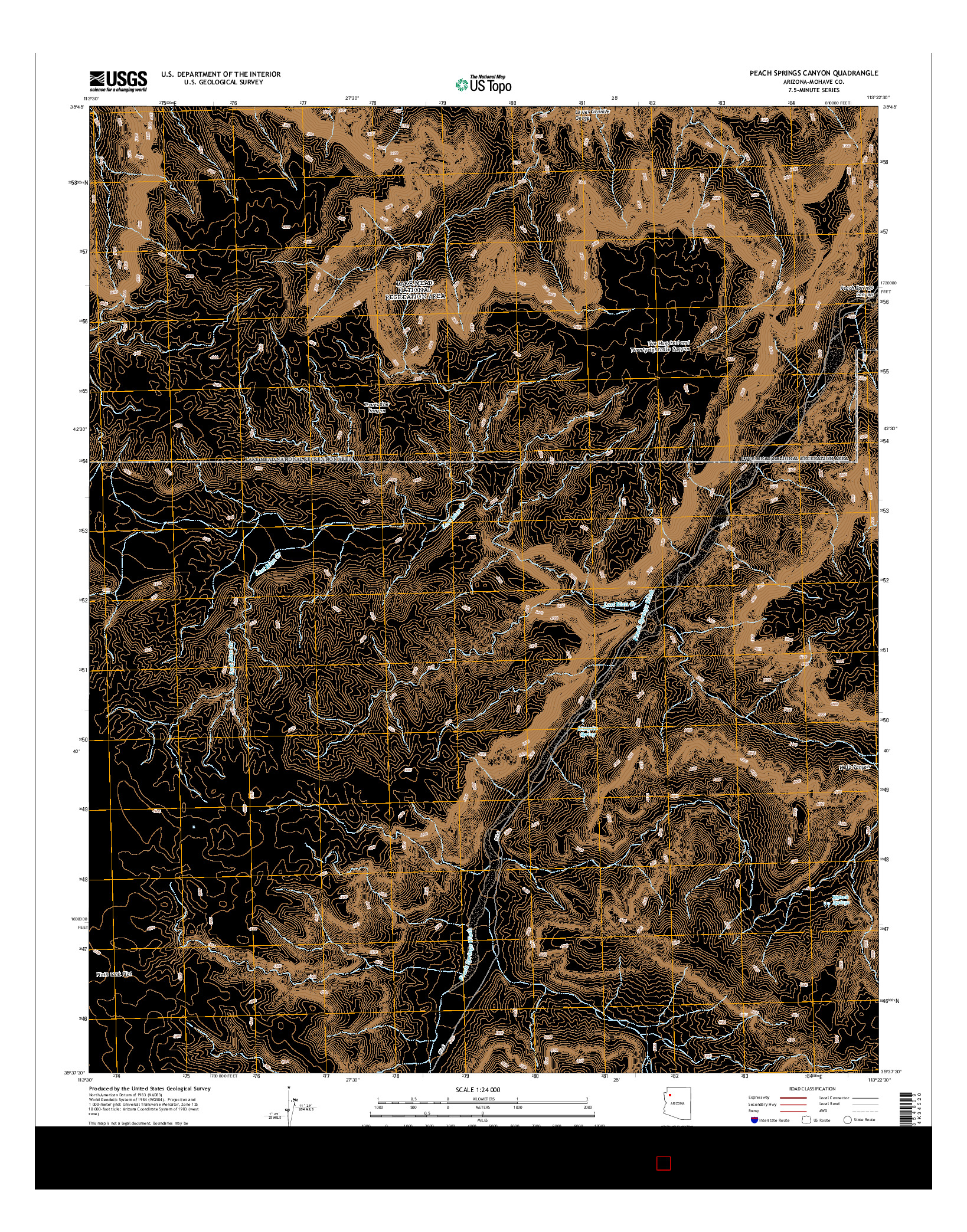 USGS US TOPO 7.5-MINUTE MAP FOR PEACH SPRINGS CANYON, AZ 2014