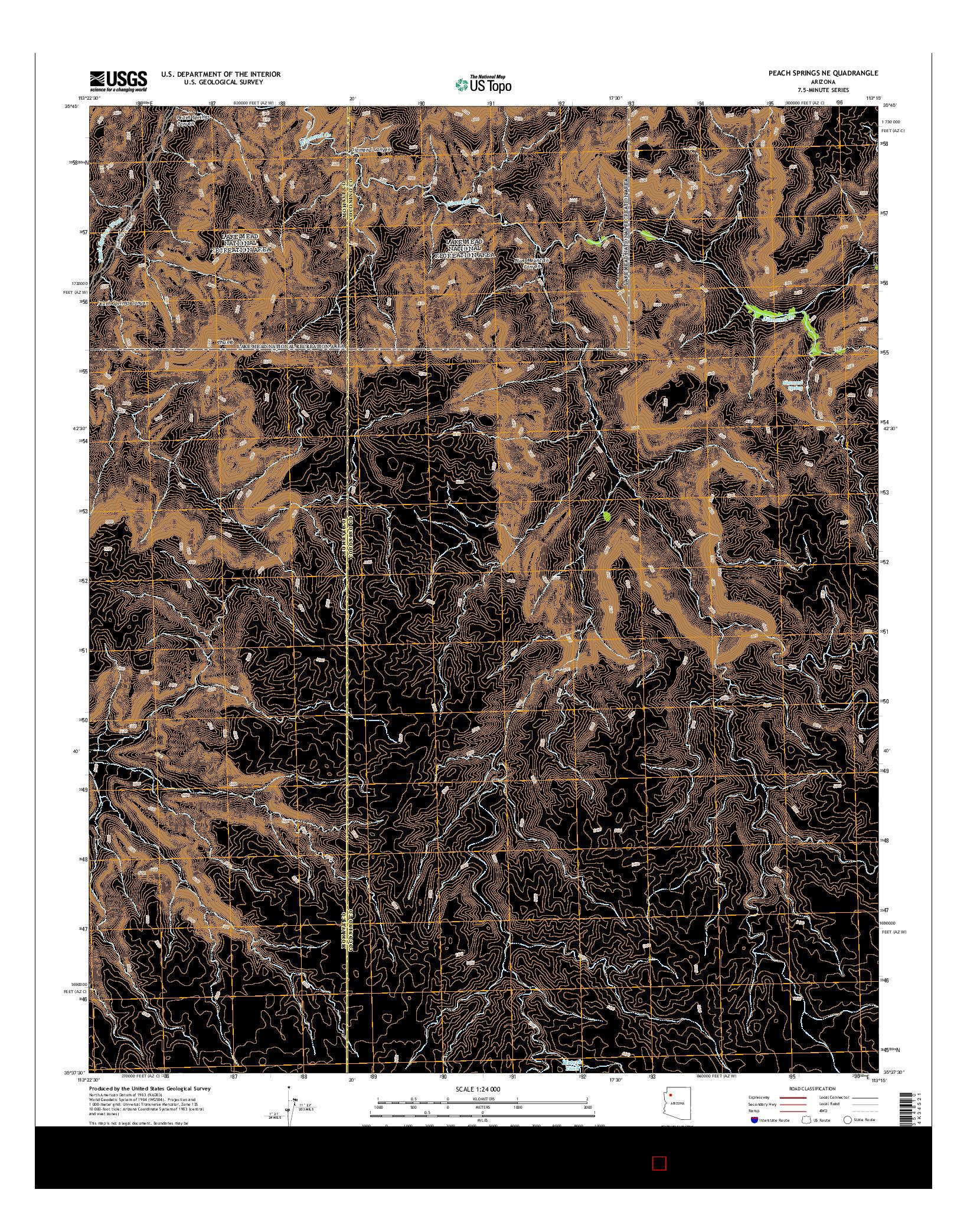 USGS US TOPO 7.5-MINUTE MAP FOR PEACH SPRINGS NE, AZ 2014