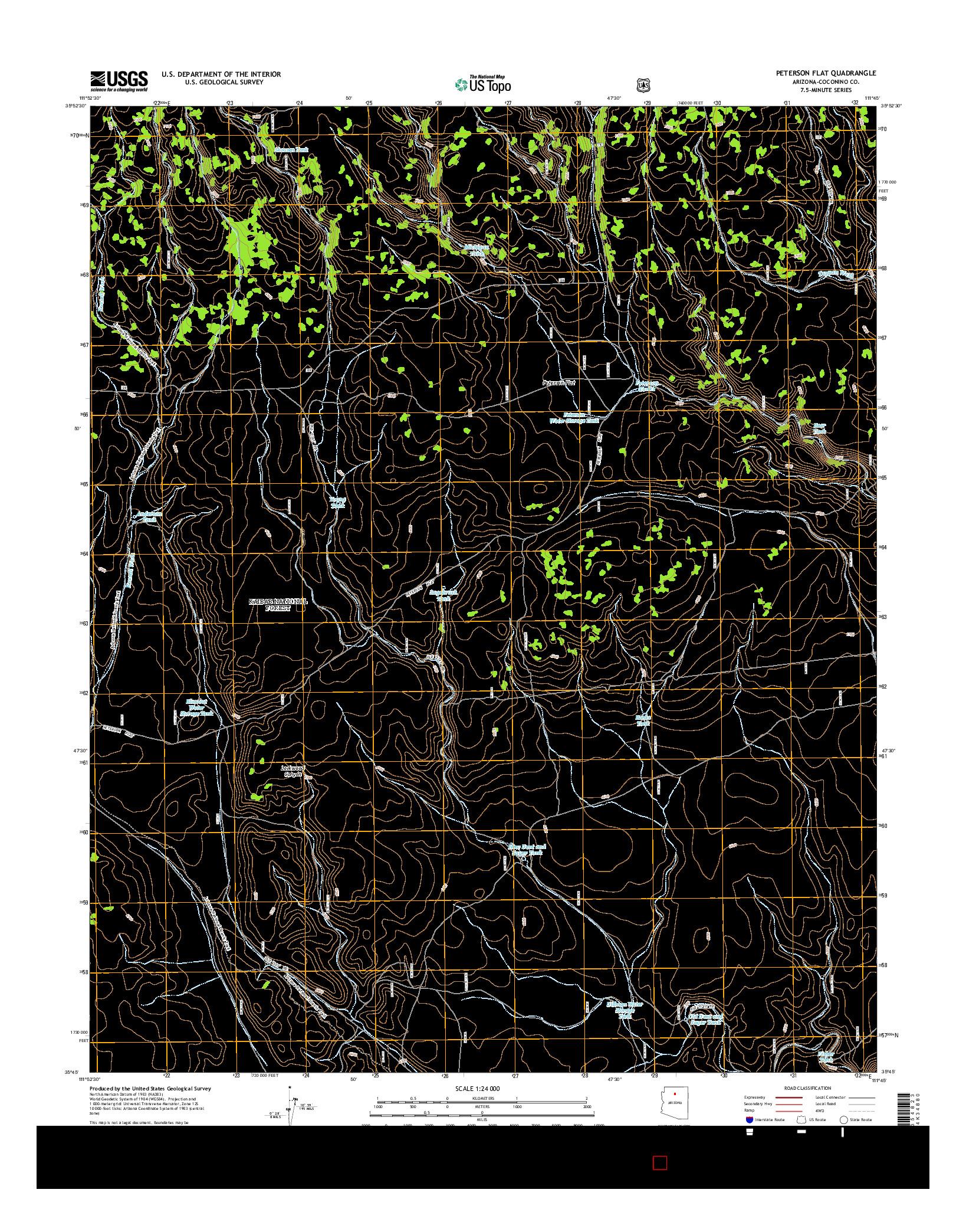 USGS US TOPO 7.5-MINUTE MAP FOR PETERSON FLAT, AZ 2014