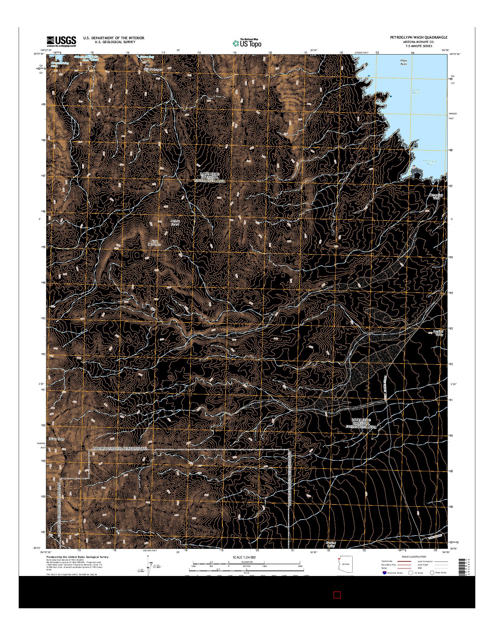 USGS US TOPO 7.5-MINUTE MAP FOR PETROGLYPH WASH, AZ 2014