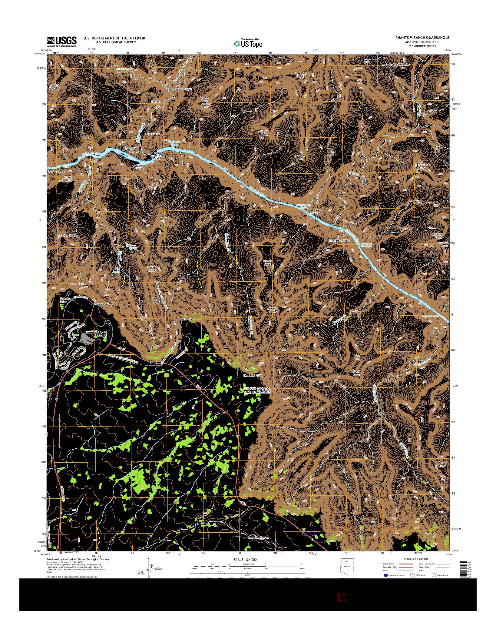USGS US TOPO 7.5-MINUTE MAP FOR PHANTOM RANCH, AZ 2014