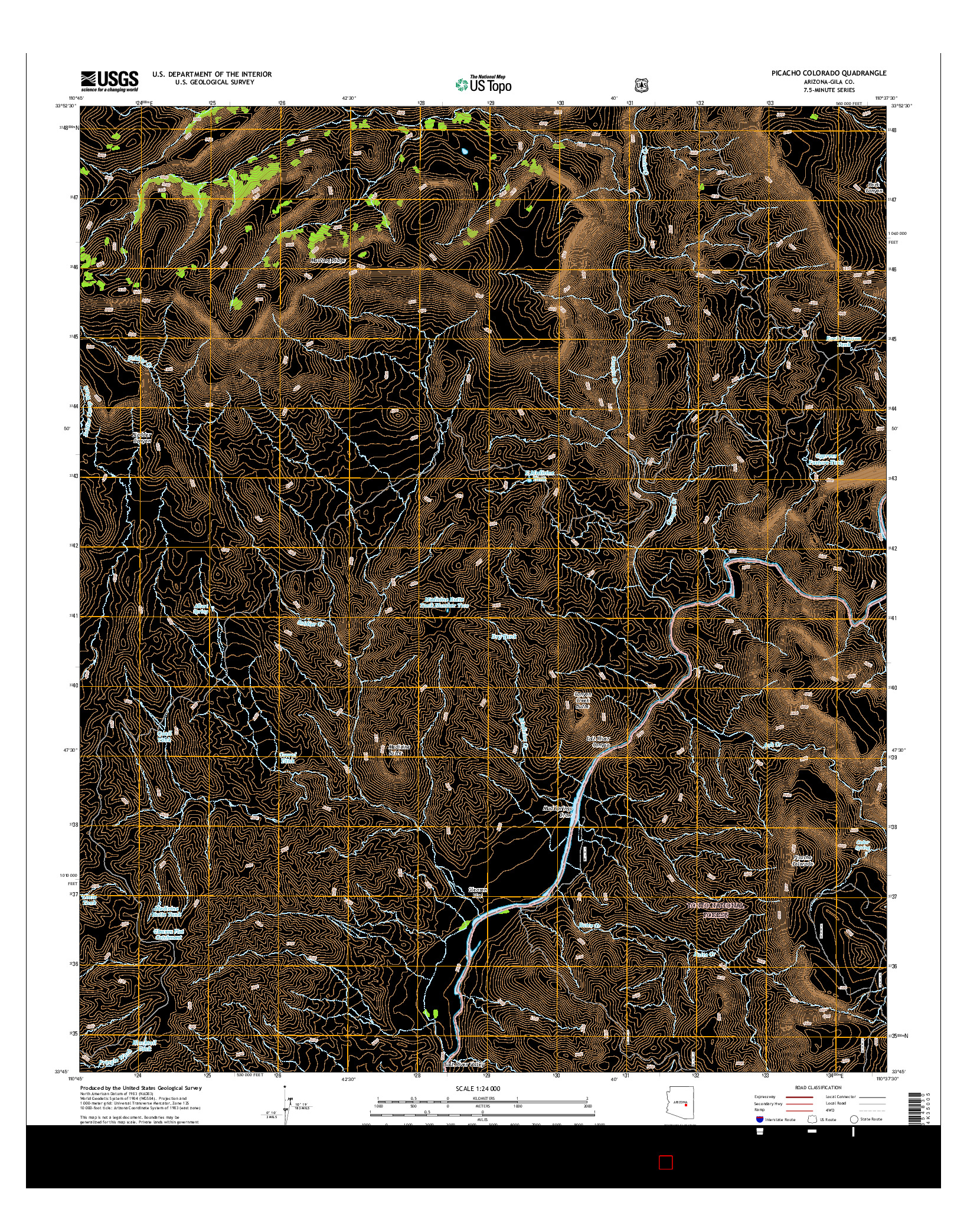 USGS US TOPO 7.5-MINUTE MAP FOR PICACHO COLORADO, AZ 2014