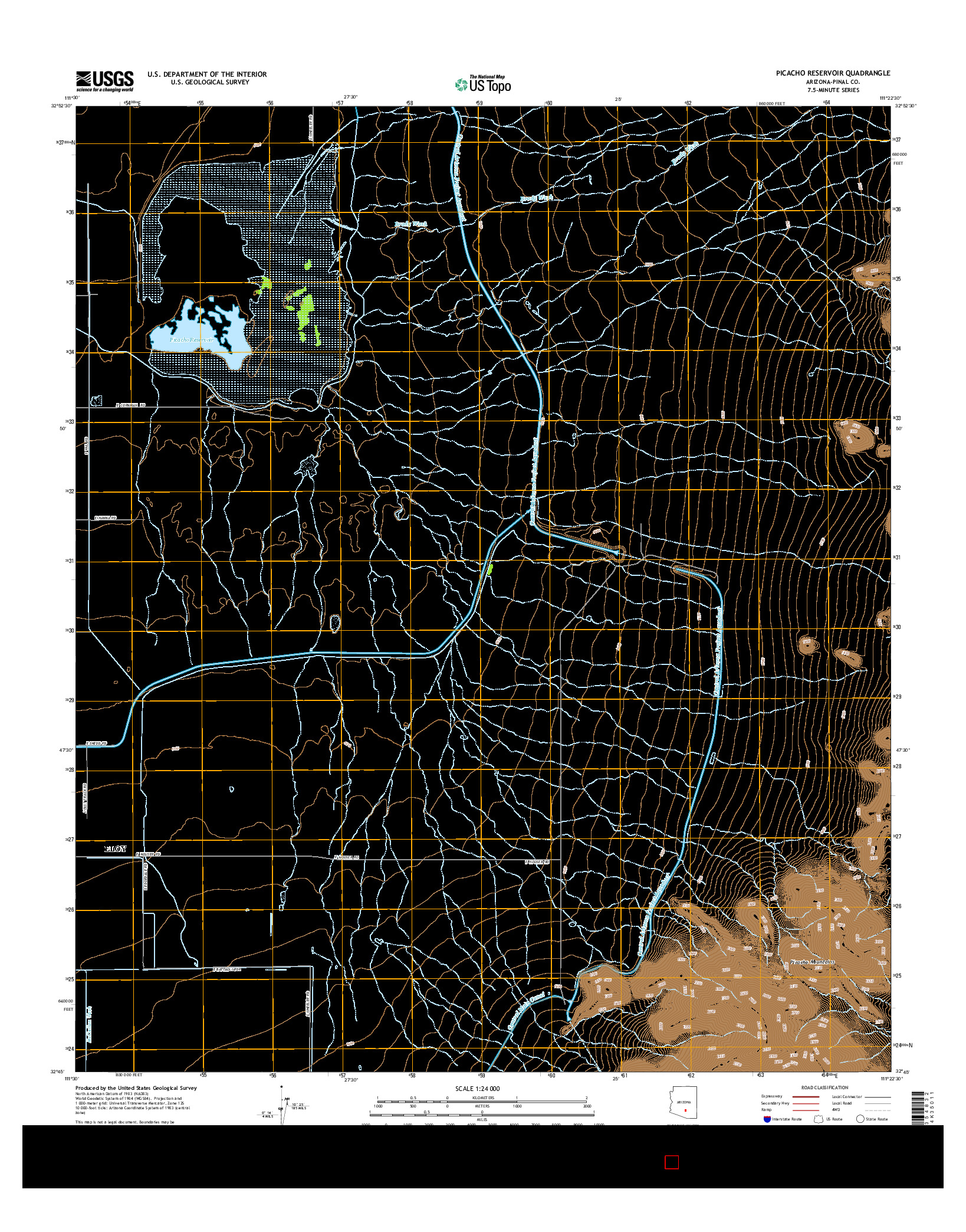 USGS US TOPO 7.5-MINUTE MAP FOR PICACHO RESERVOIR, AZ 2014