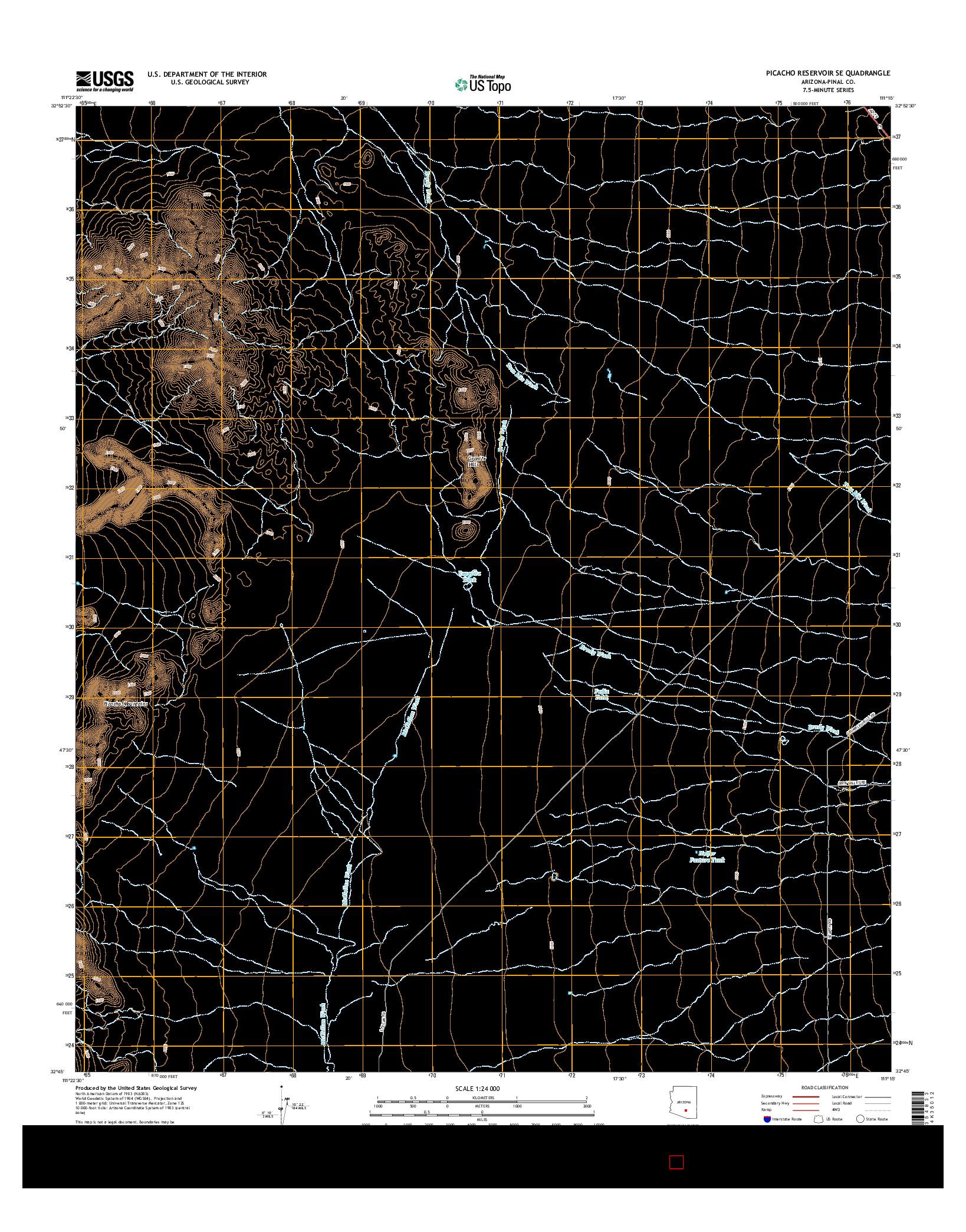 USGS US TOPO 7.5-MINUTE MAP FOR PICACHO RESERVOIR SE, AZ 2014