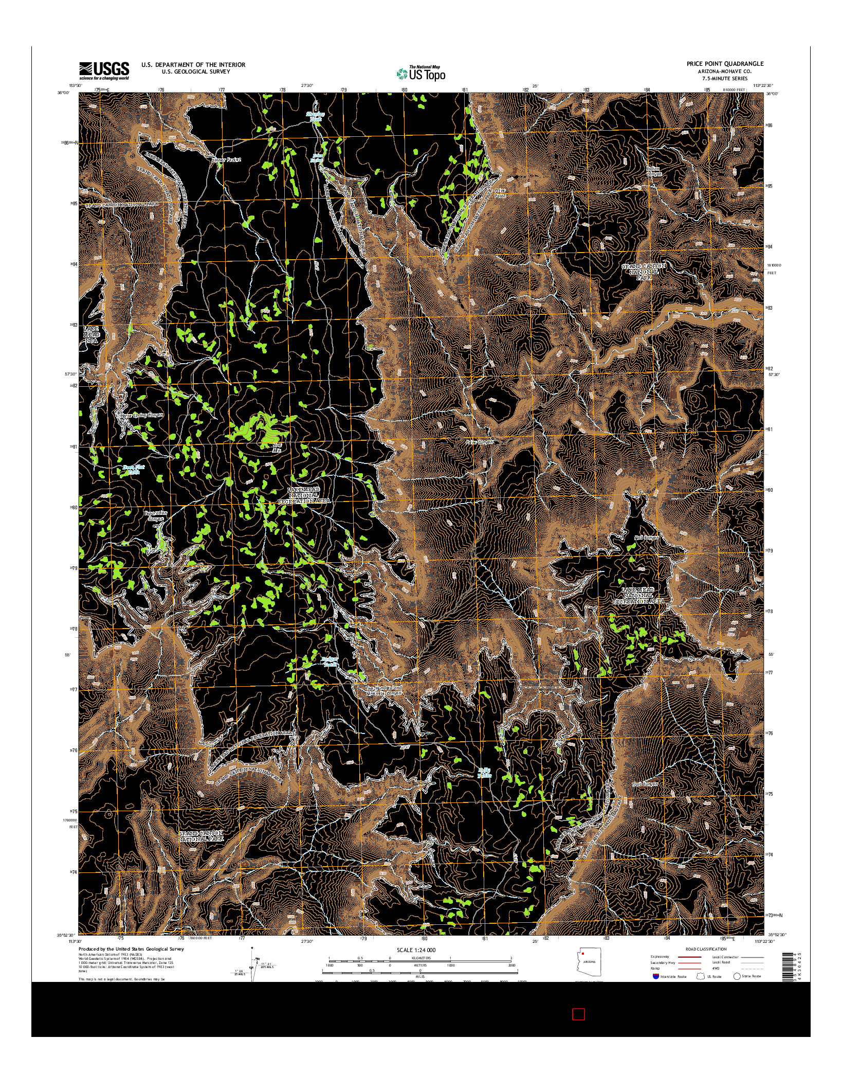 USGS US TOPO 7.5-MINUTE MAP FOR PRICE POINT, AZ 2014