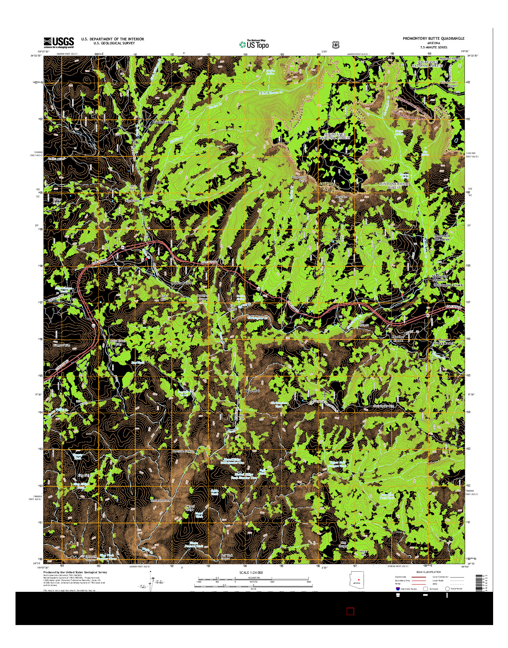 USGS US TOPO 7.5-MINUTE MAP FOR PROMONTORY BUTTE, AZ 2014