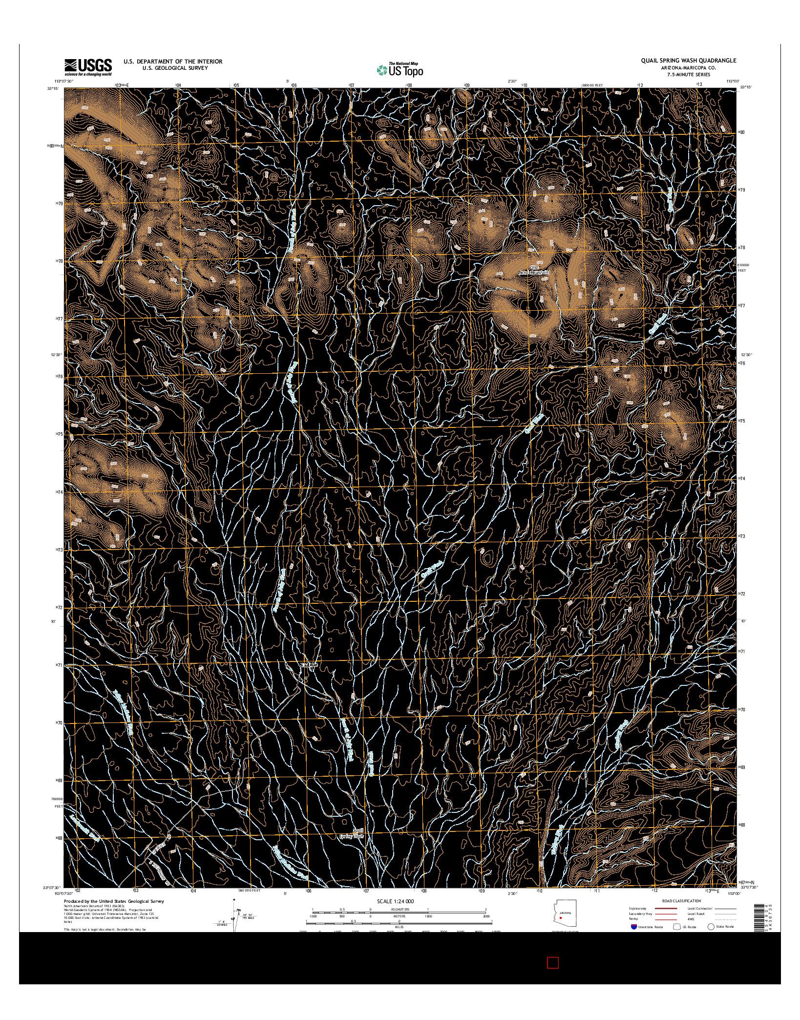 USGS US TOPO 7.5-MINUTE MAP FOR QUAIL SPRING WASH, AZ 2014