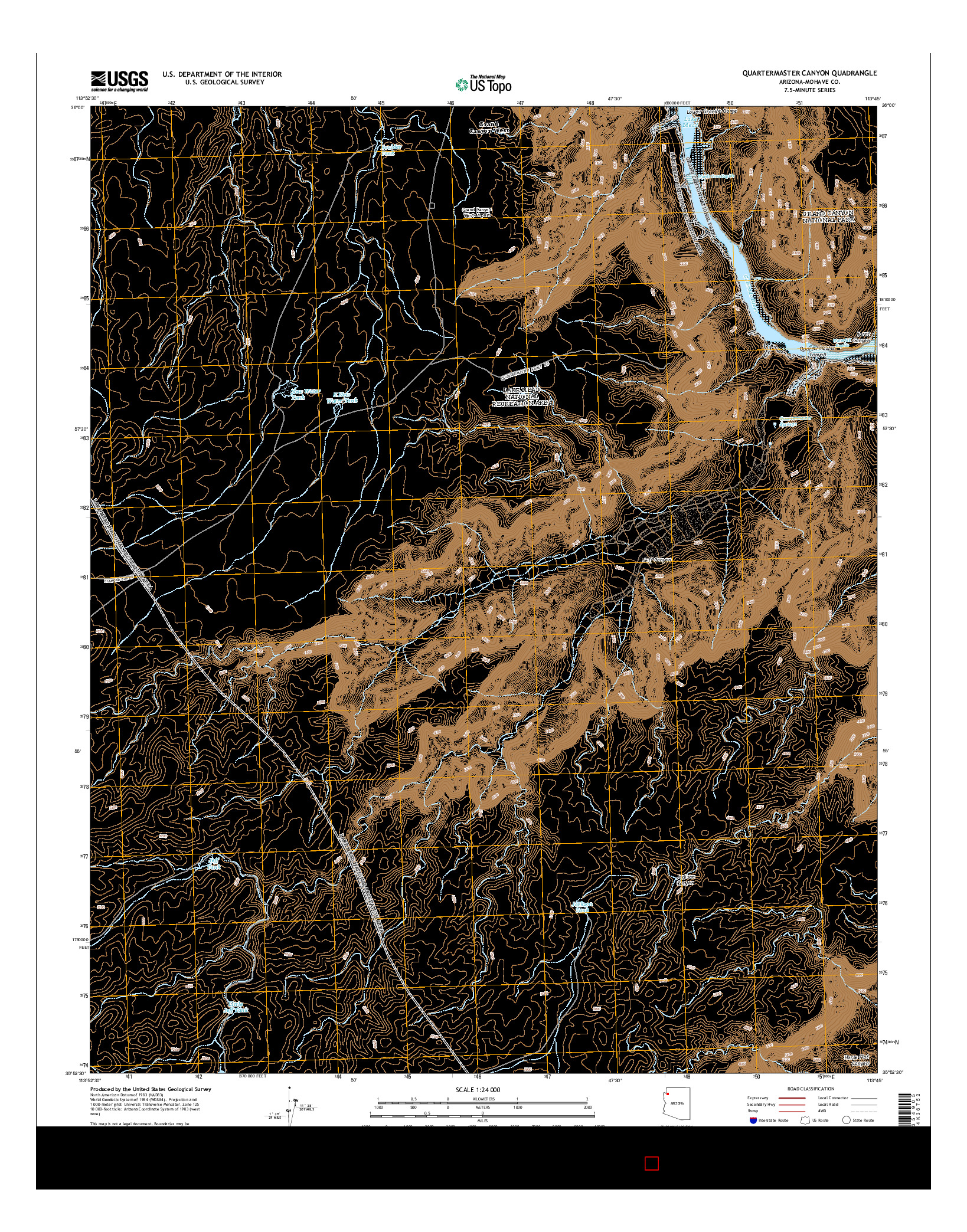 USGS US TOPO 7.5-MINUTE MAP FOR QUARTERMASTER CANYON, AZ 2014