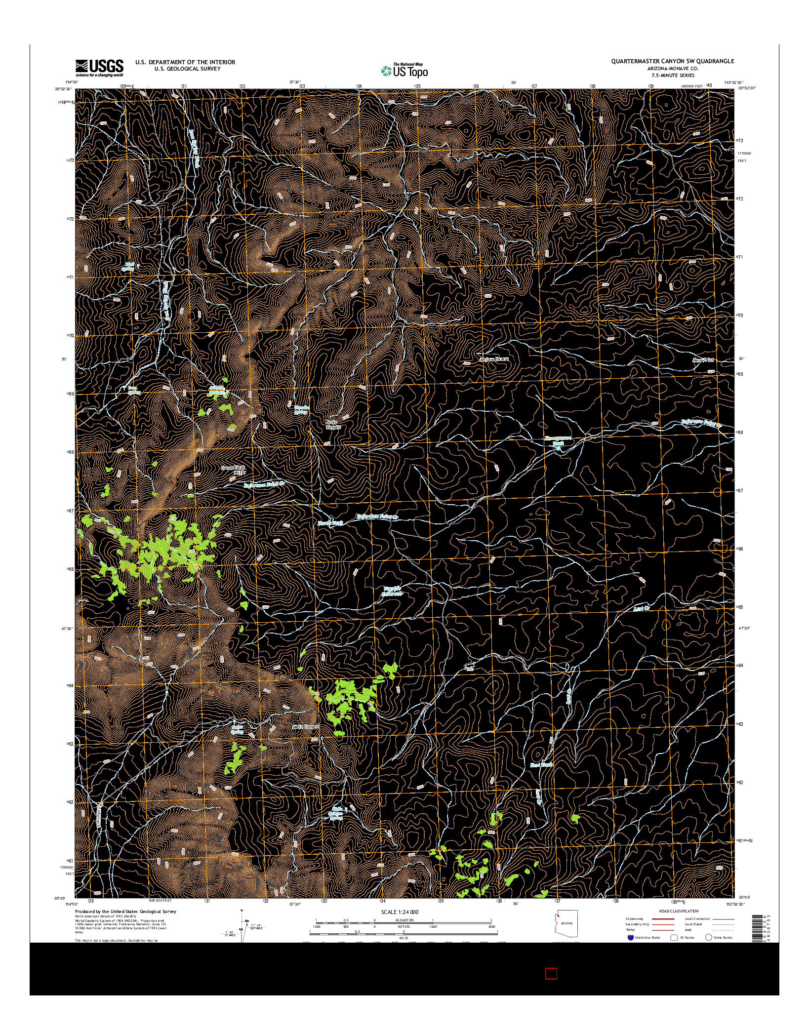 USGS US TOPO 7.5-MINUTE MAP FOR QUARTERMASTER CANYON SW, AZ 2014