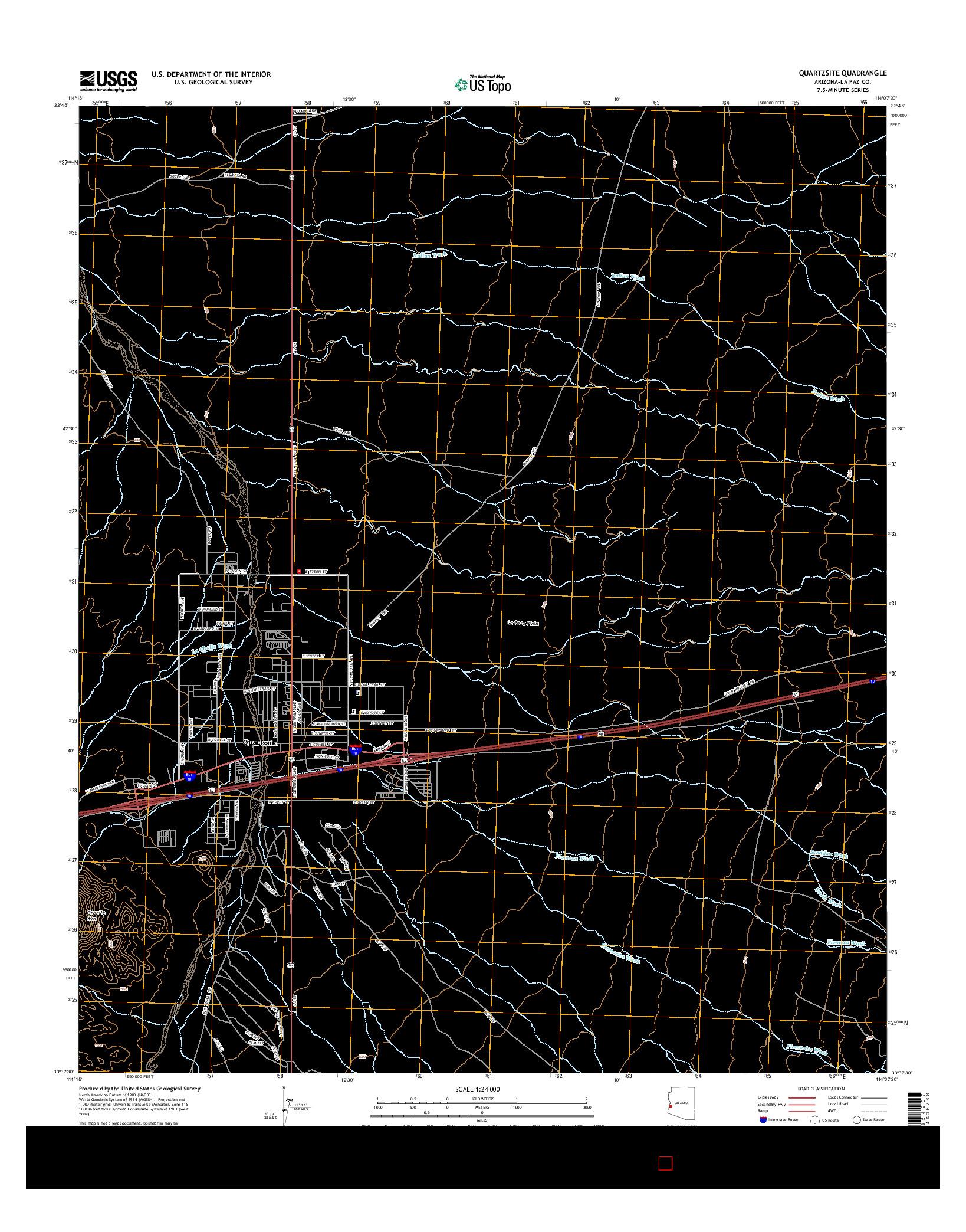 USGS US TOPO 7.5-MINUTE MAP FOR QUARTZSITE, AZ 2014