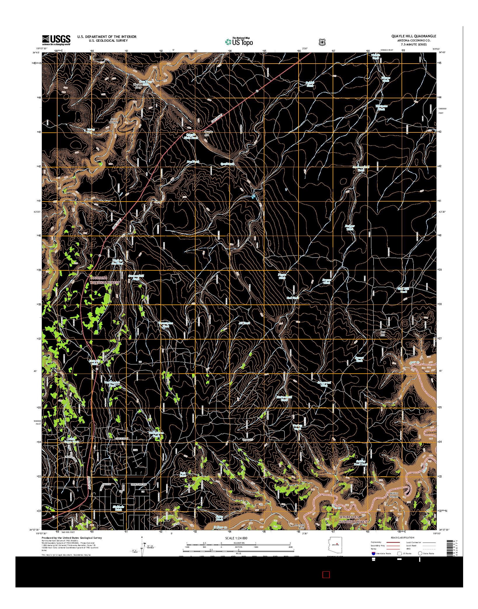 USGS US TOPO 7.5-MINUTE MAP FOR QUAYLE HILL, AZ 2014