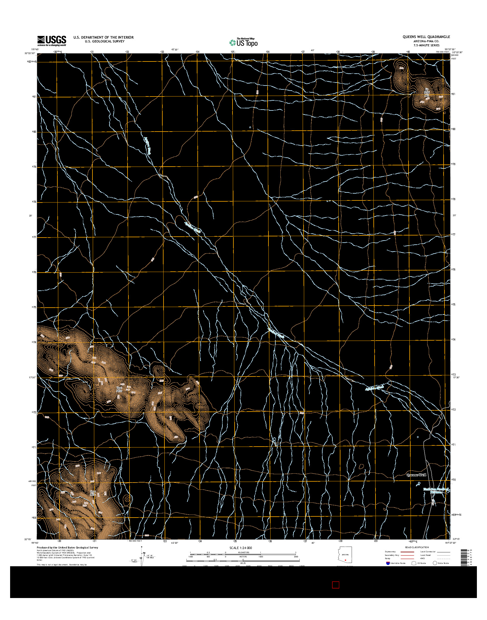 USGS US TOPO 7.5-MINUTE MAP FOR QUEENS WELL, AZ 2014