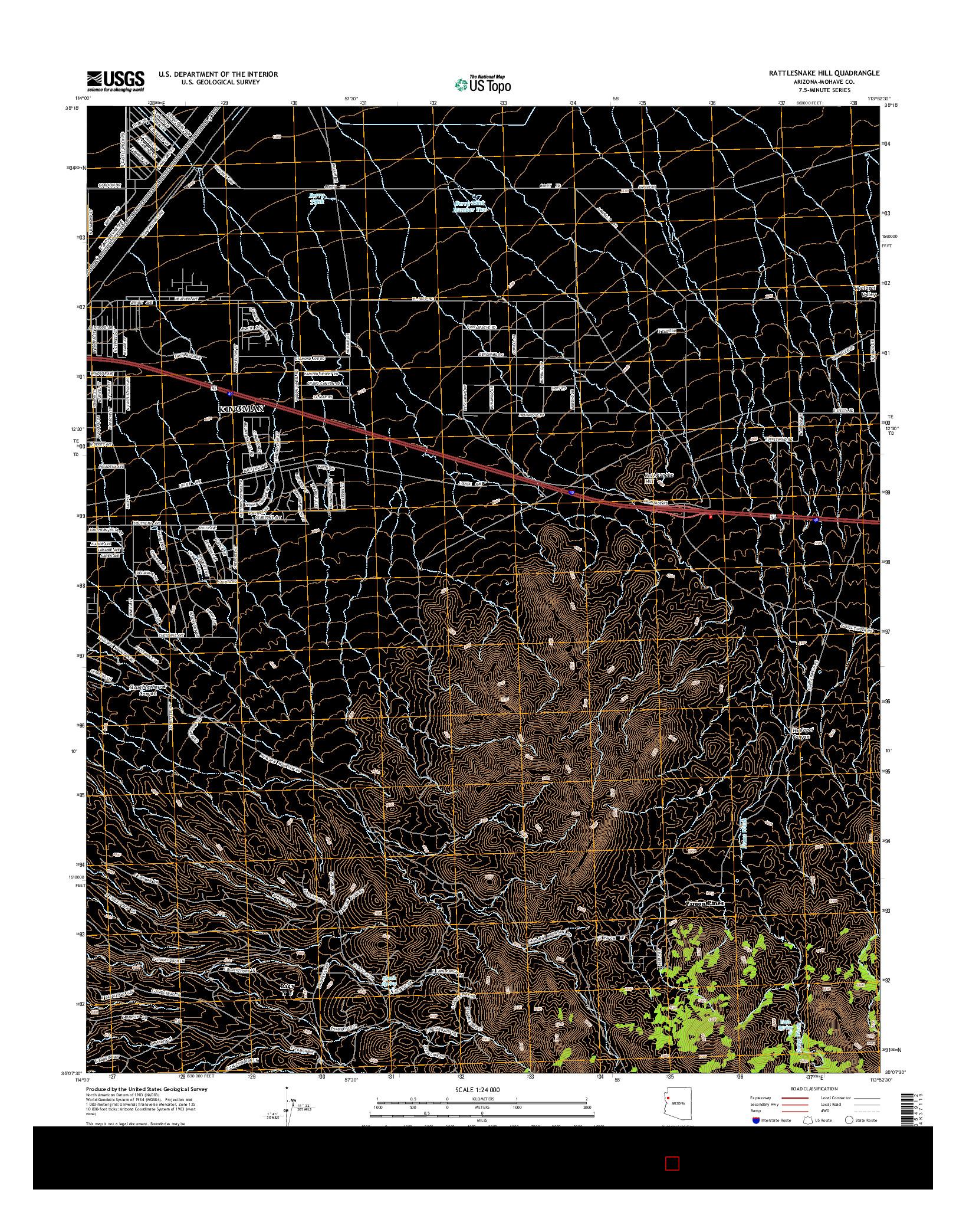 USGS US TOPO 7.5-MINUTE MAP FOR RATTLESNAKE HILL, AZ 2014
