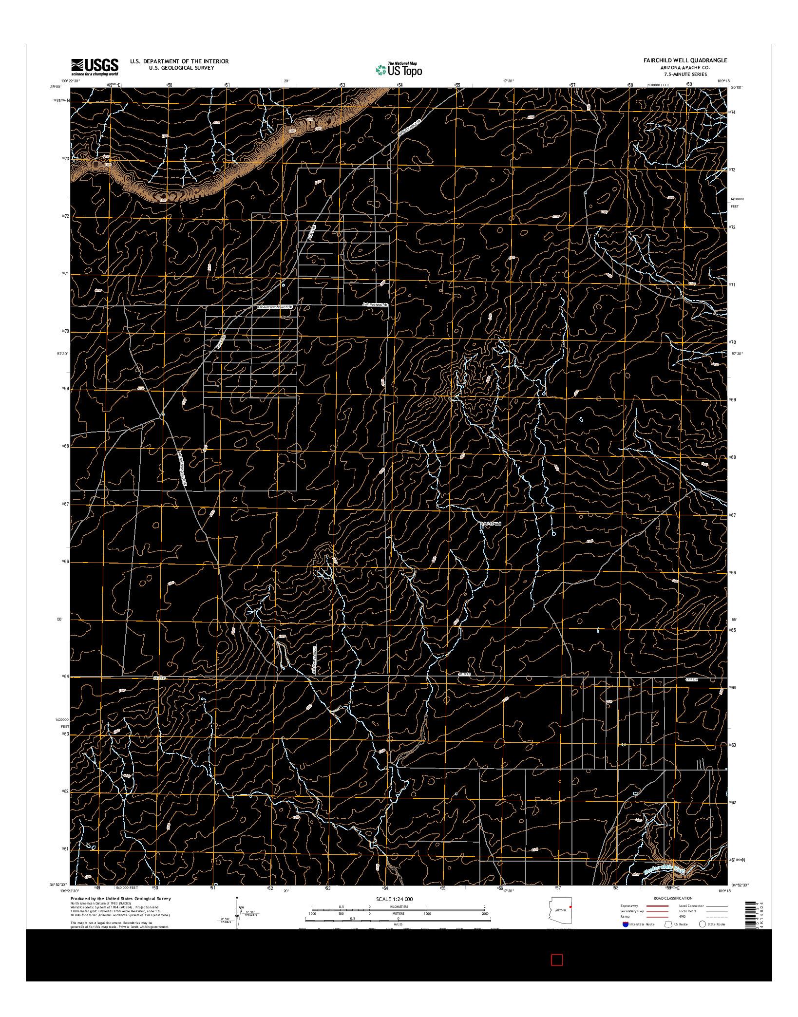 USGS US TOPO 7.5-MINUTE MAP FOR FAIRCHILD WELL, AZ 2014