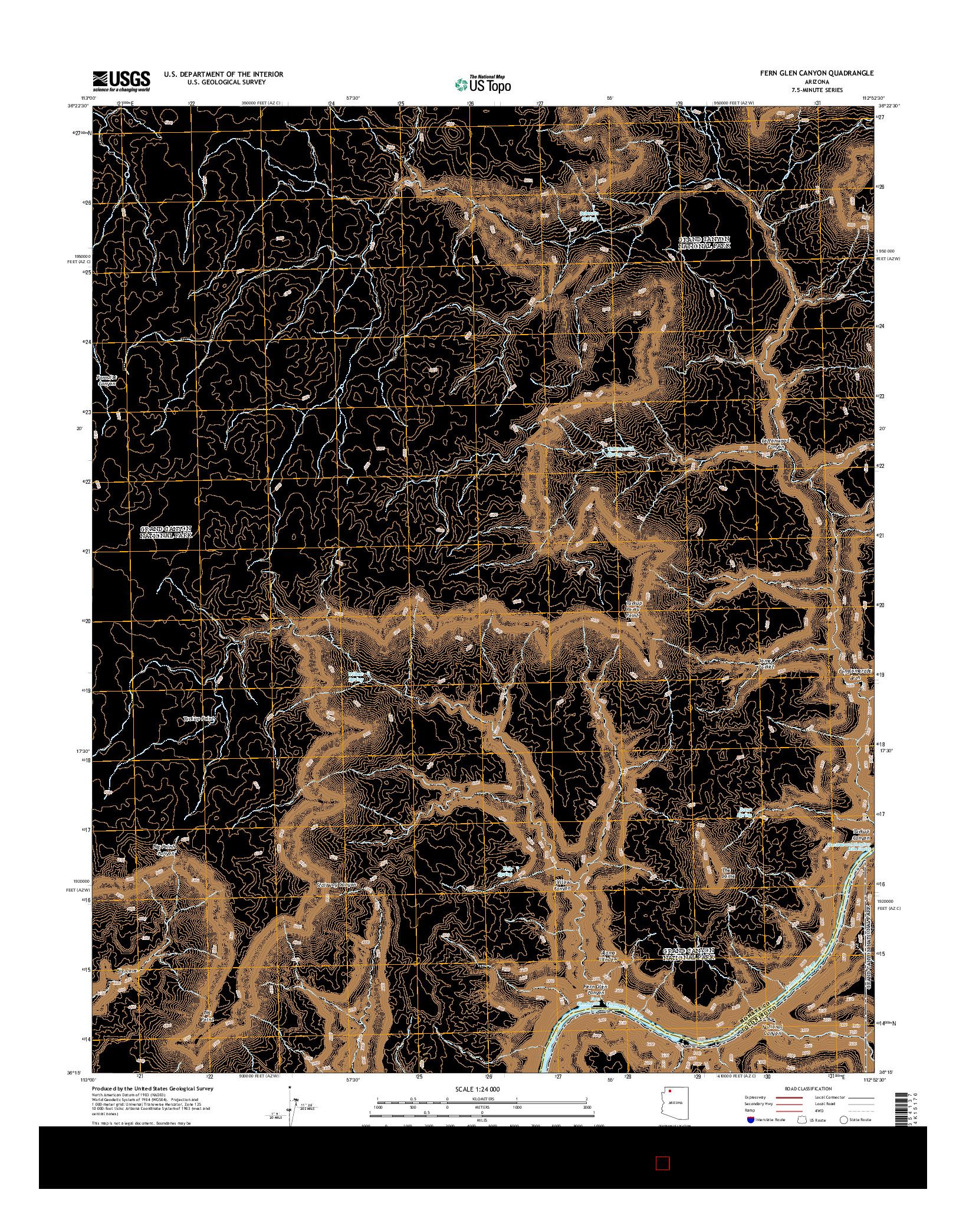 USGS US TOPO 7.5-MINUTE MAP FOR FERN GLEN CANYON, AZ 2014
