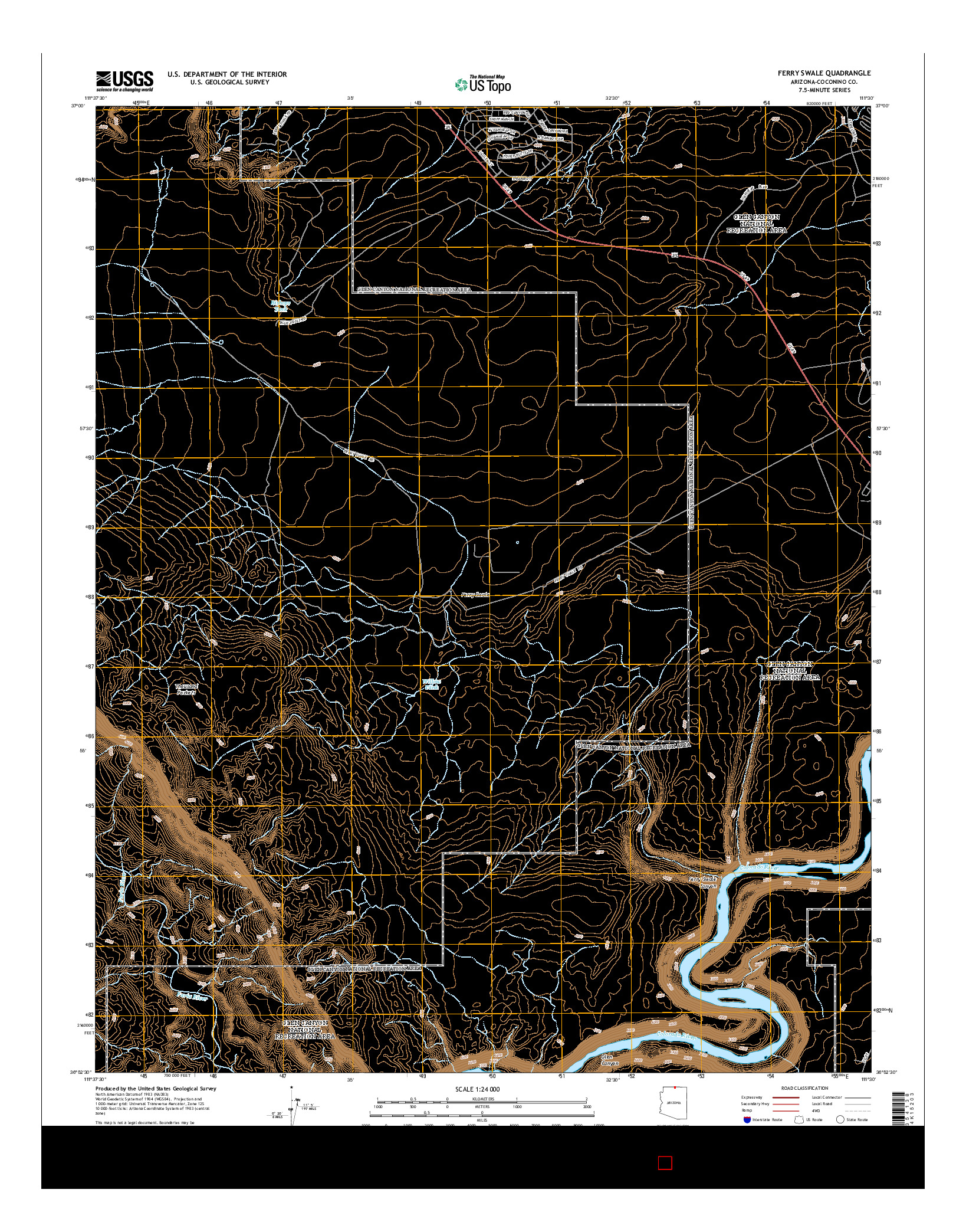 USGS US TOPO 7.5-MINUTE MAP FOR FERRY SWALE, AZ 2014