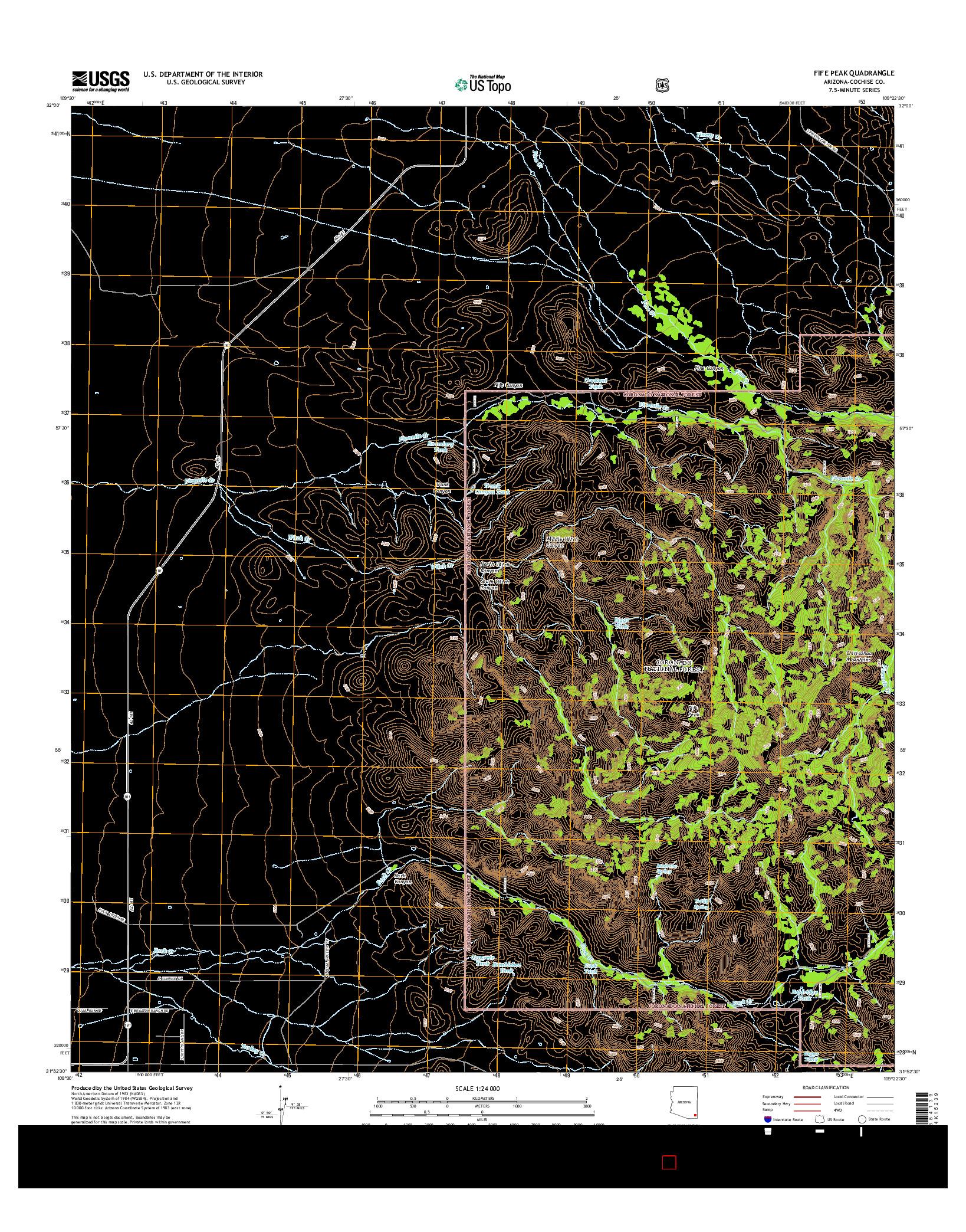 USGS US TOPO 7.5-MINUTE MAP FOR FIFE PEAK, AZ 2014