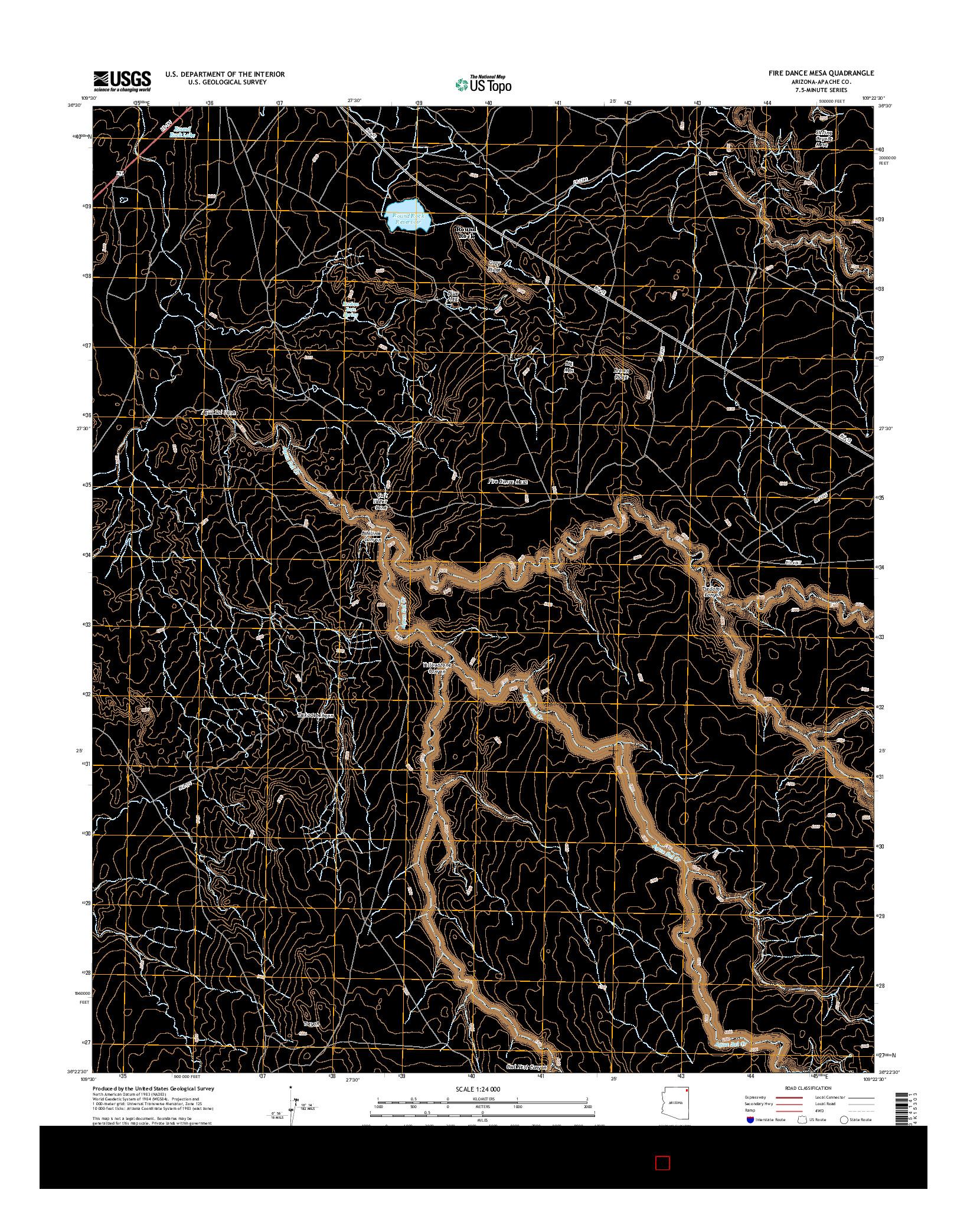USGS US TOPO 7.5-MINUTE MAP FOR FIRE DANCE MESA, AZ 2014