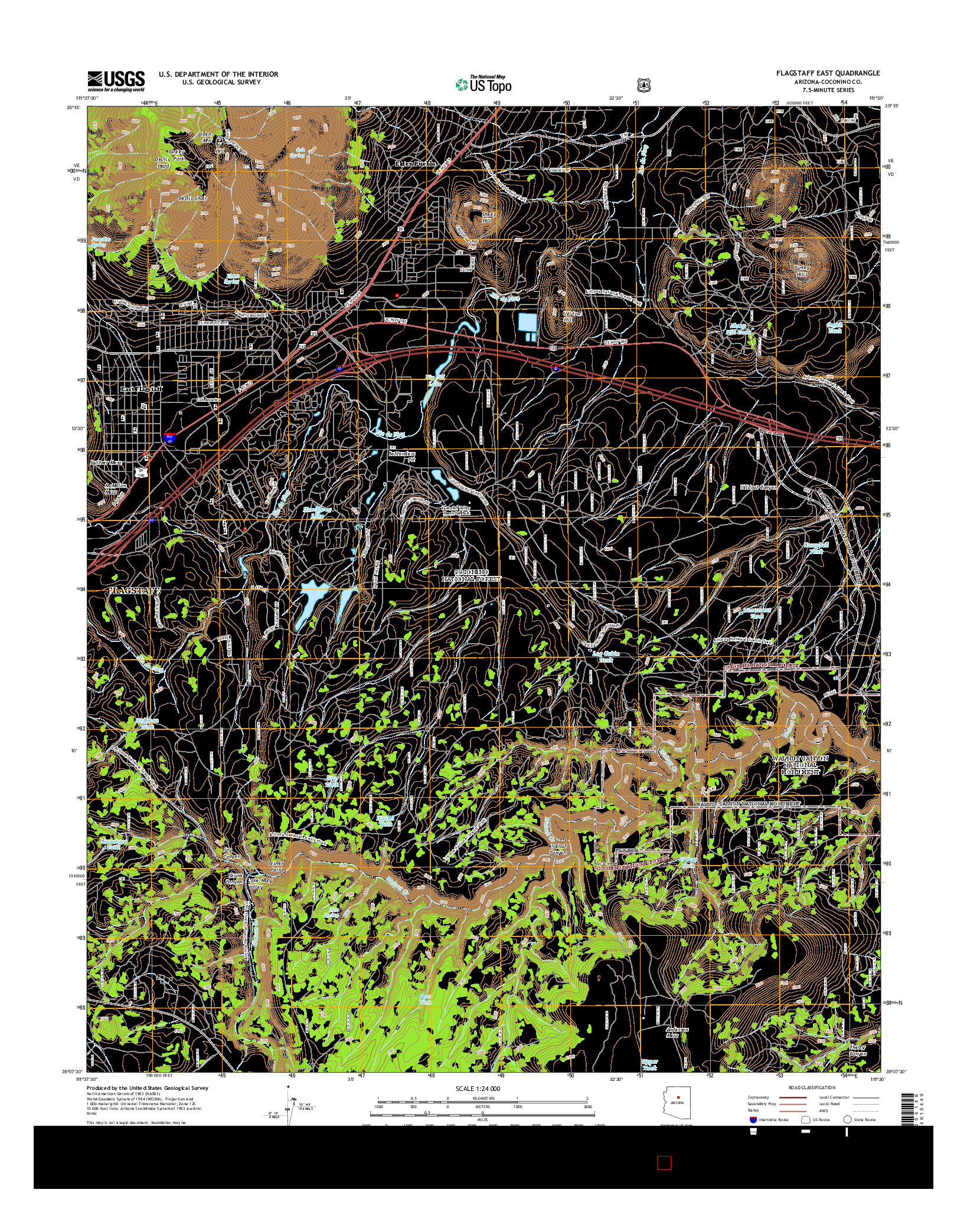 USGS US TOPO 7.5-MINUTE MAP FOR FLAGSTAFF EAST, AZ 2014
