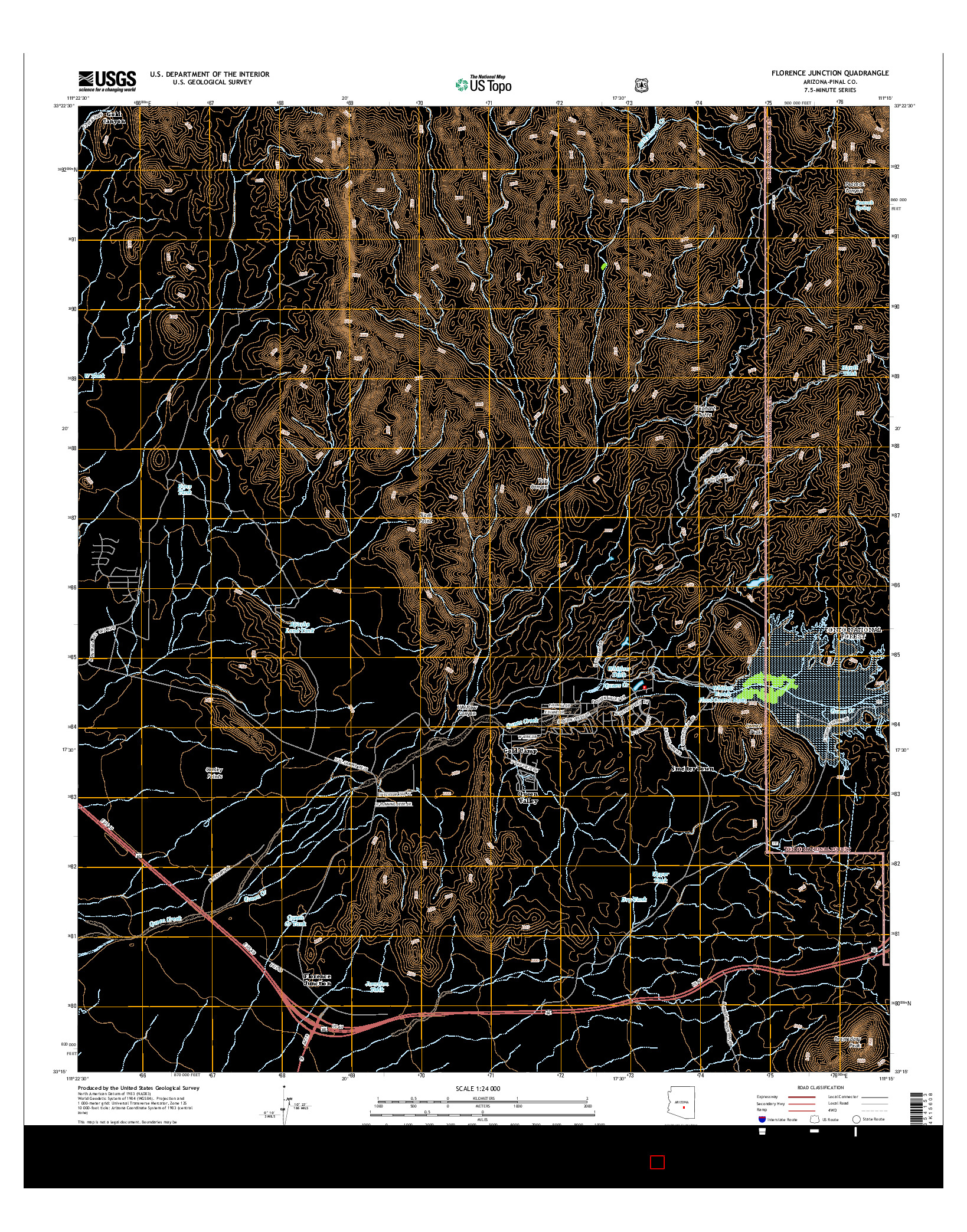 USGS US TOPO 7.5-MINUTE MAP FOR FLORENCE JUNCTION, AZ 2014