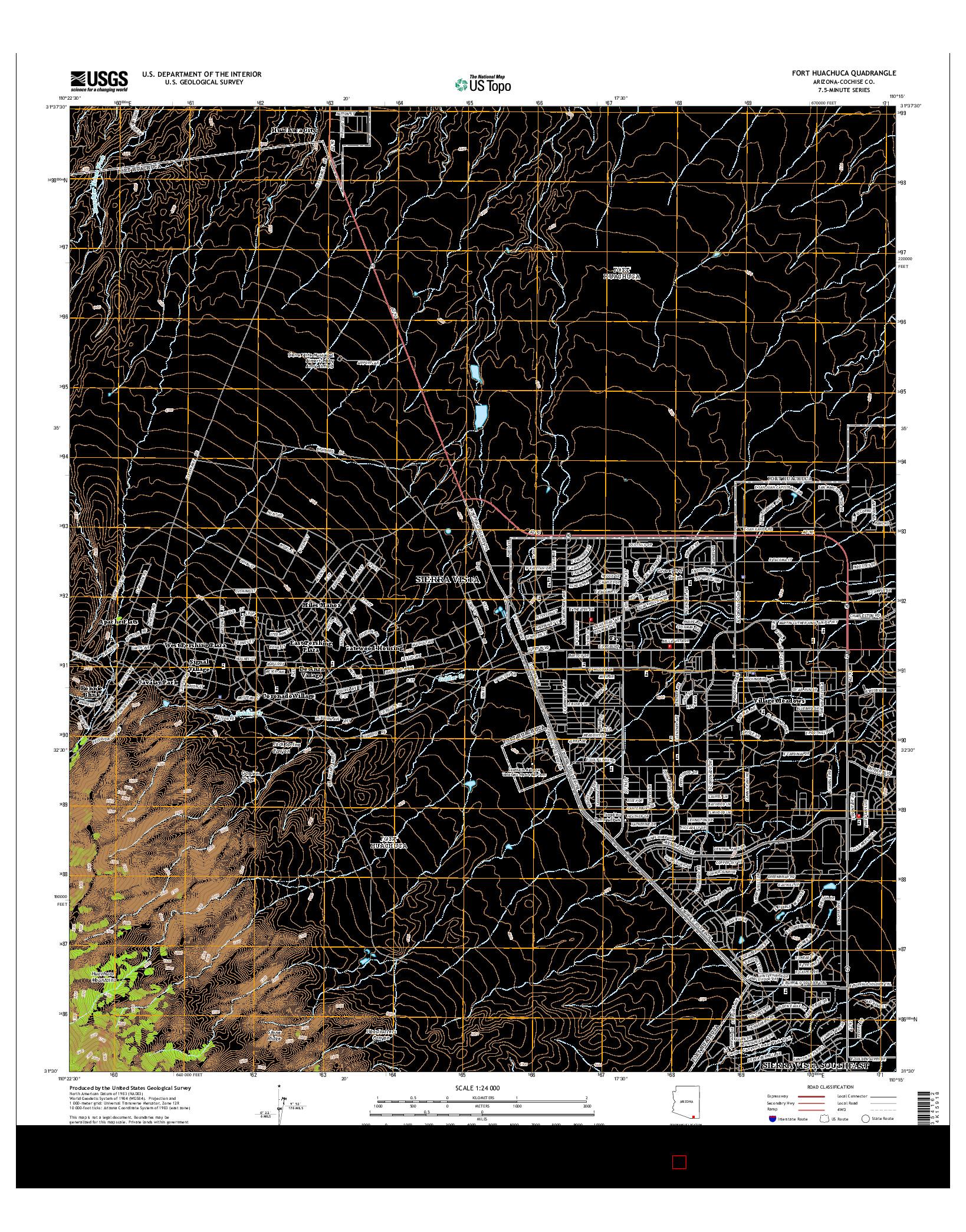 USGS US TOPO 7.5-MINUTE MAP FOR FORT HUACHUCA, AZ 2014