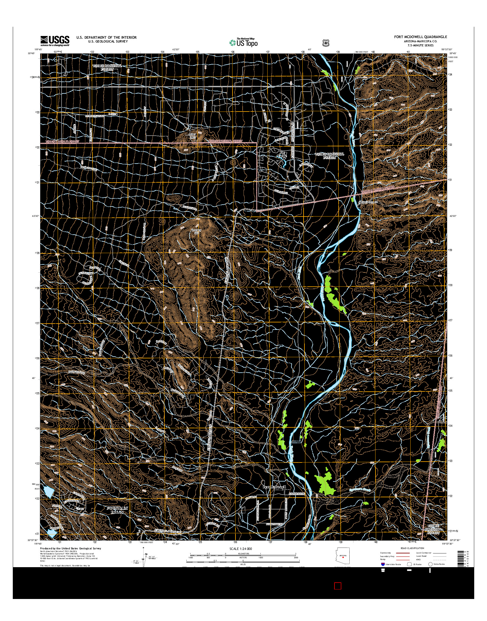 USGS US TOPO 7.5-MINUTE MAP FOR FORT MCDOWELL, AZ 2014