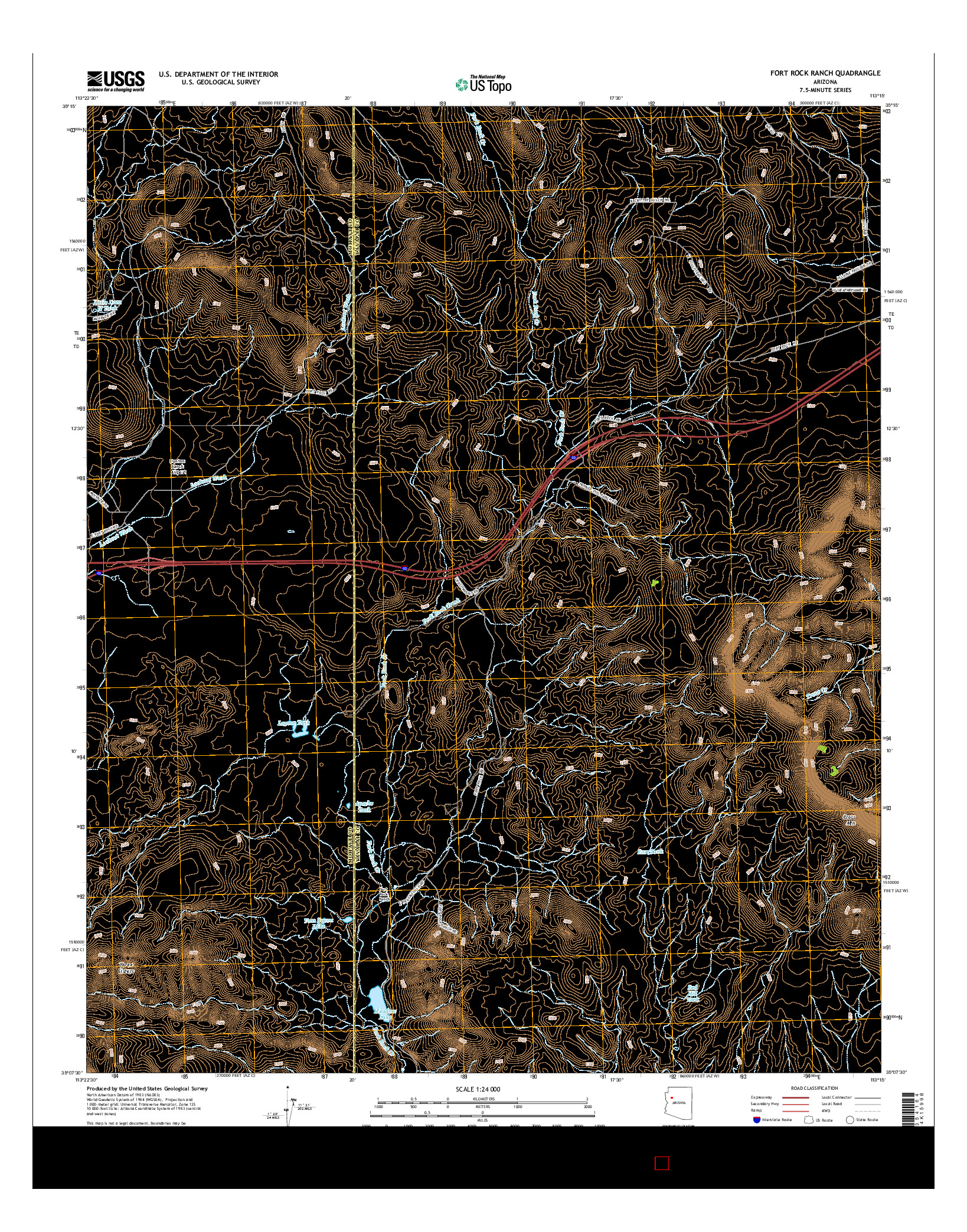 USGS US TOPO 7.5-MINUTE MAP FOR FORT ROCK RANCH, AZ 2014