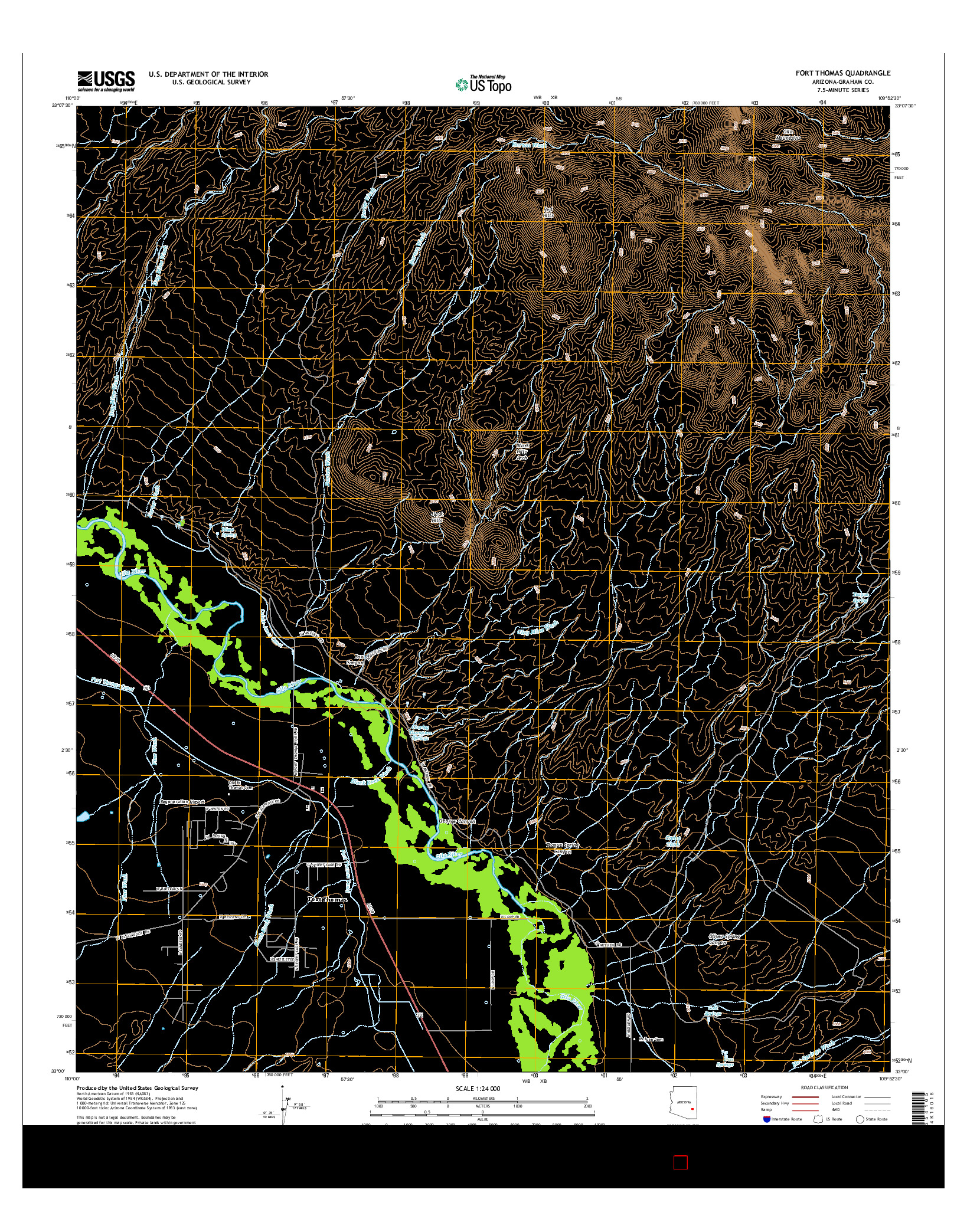 USGS US TOPO 7.5-MINUTE MAP FOR FORT THOMAS, AZ 2014