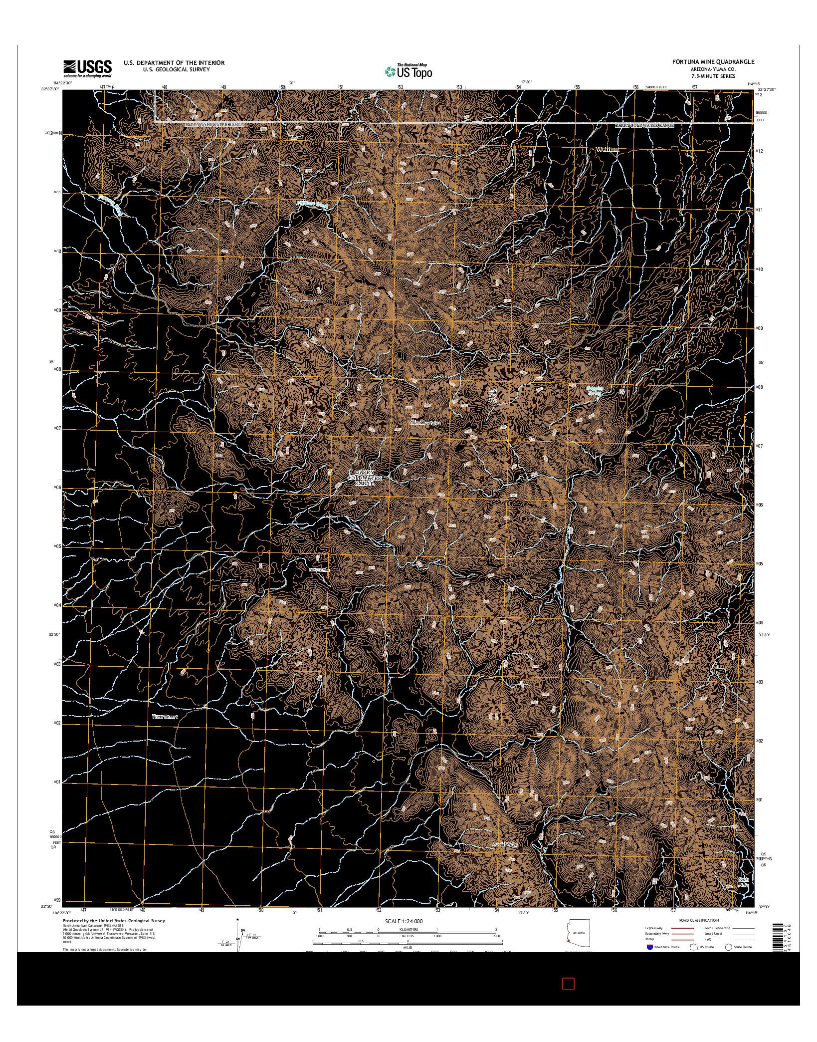 USGS US TOPO 7.5-MINUTE MAP FOR FORTUNA MINE, AZ 2014