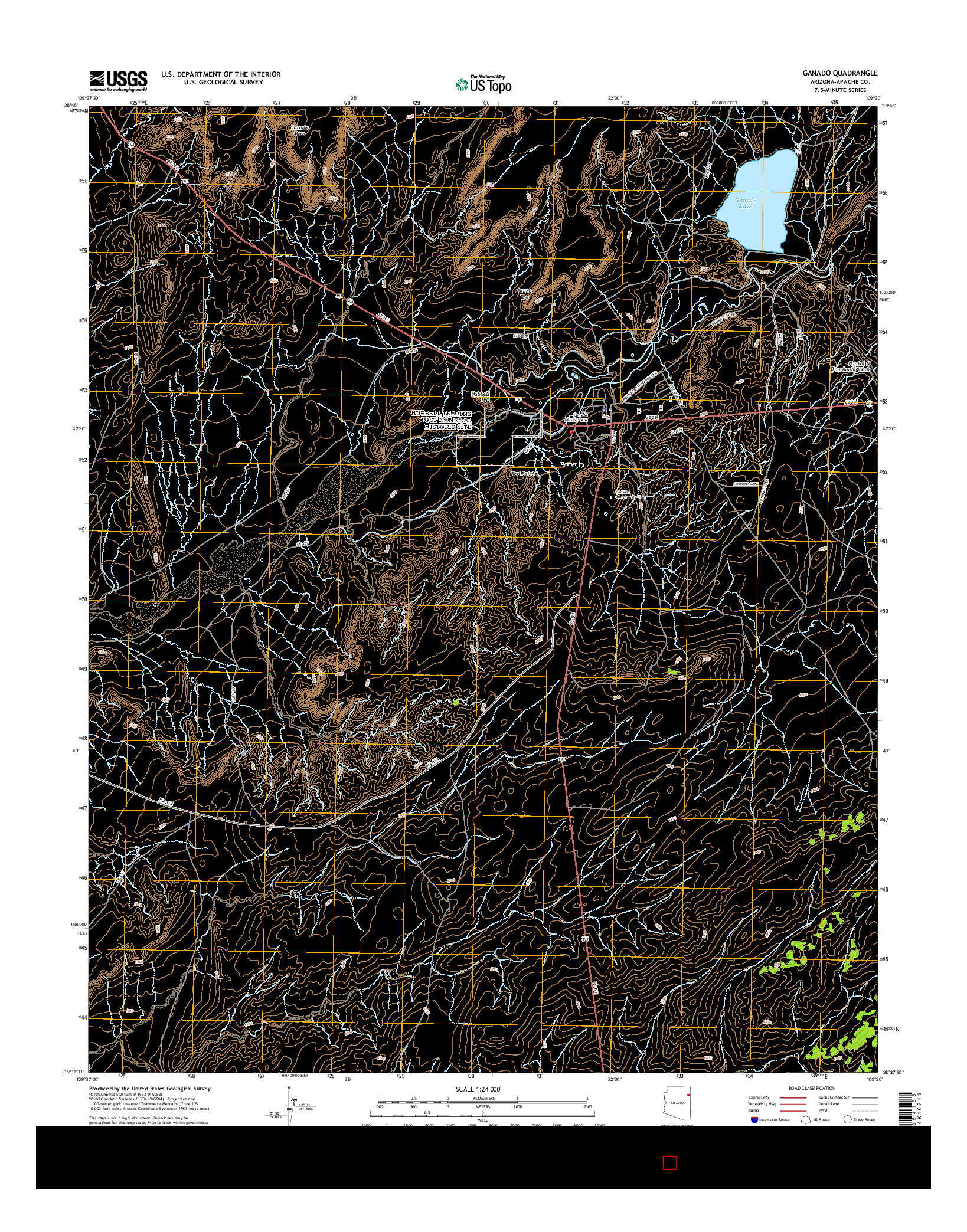USGS US TOPO 7.5-MINUTE MAP FOR GANADO, AZ 2014
