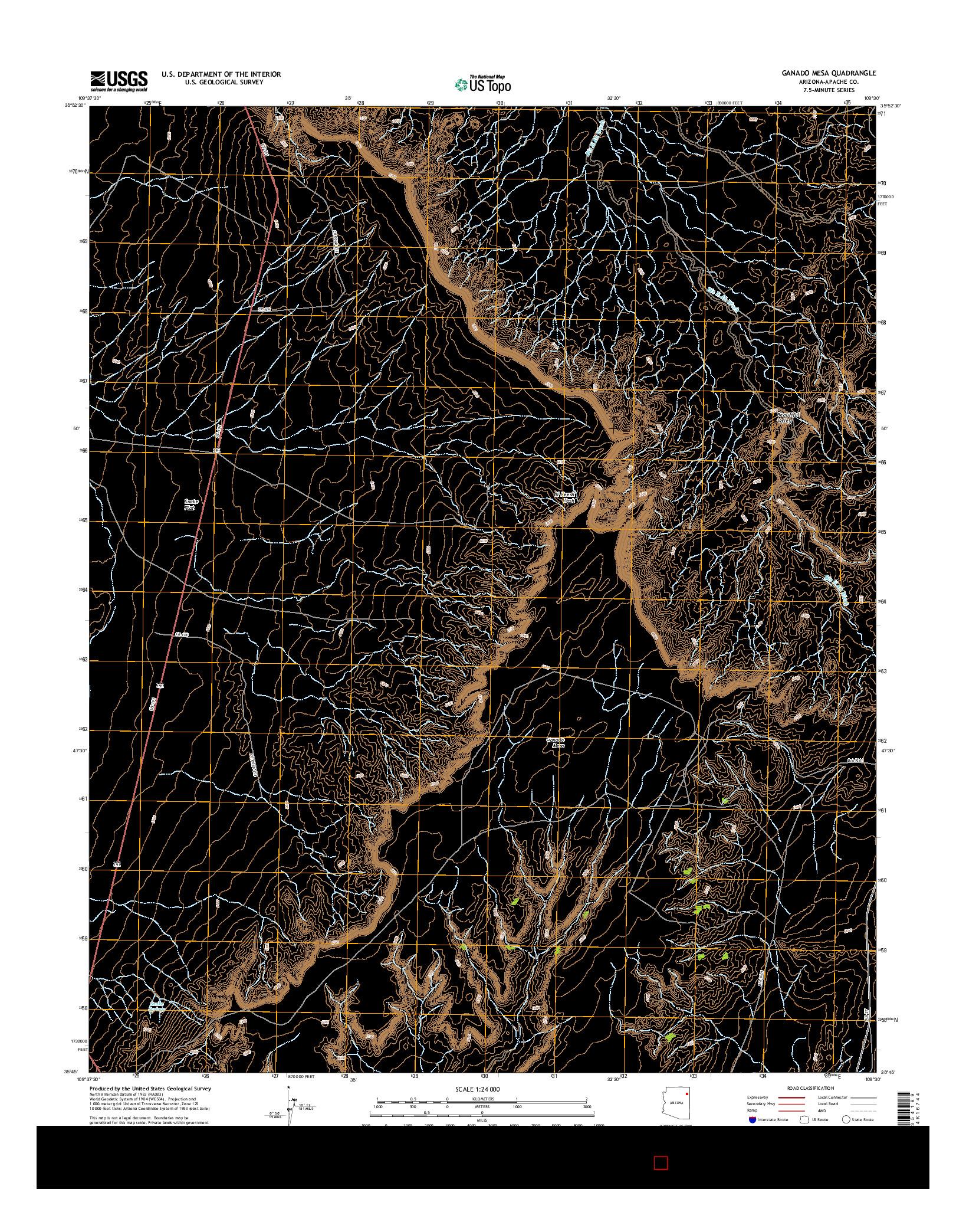 USGS US TOPO 7.5-MINUTE MAP FOR GANADO MESA, AZ 2014