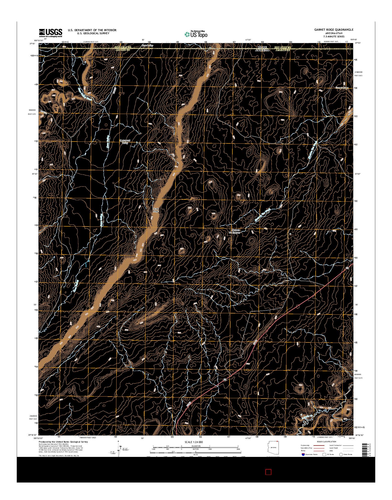 USGS US TOPO 7.5-MINUTE MAP FOR GARNET RIDGE, AZ-UT 2014