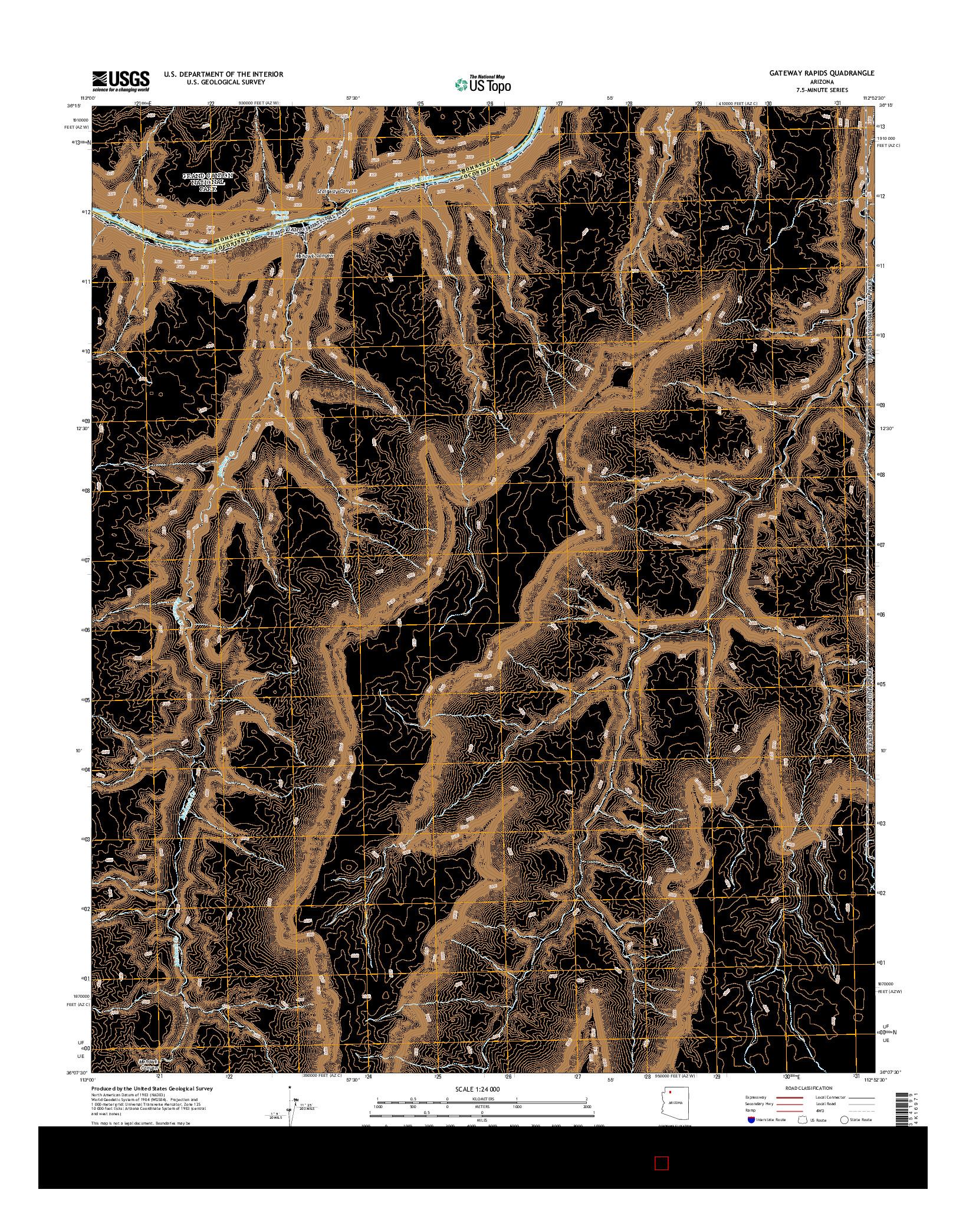 USGS US TOPO 7.5-MINUTE MAP FOR GATEWAY RAPIDS, AZ 2014