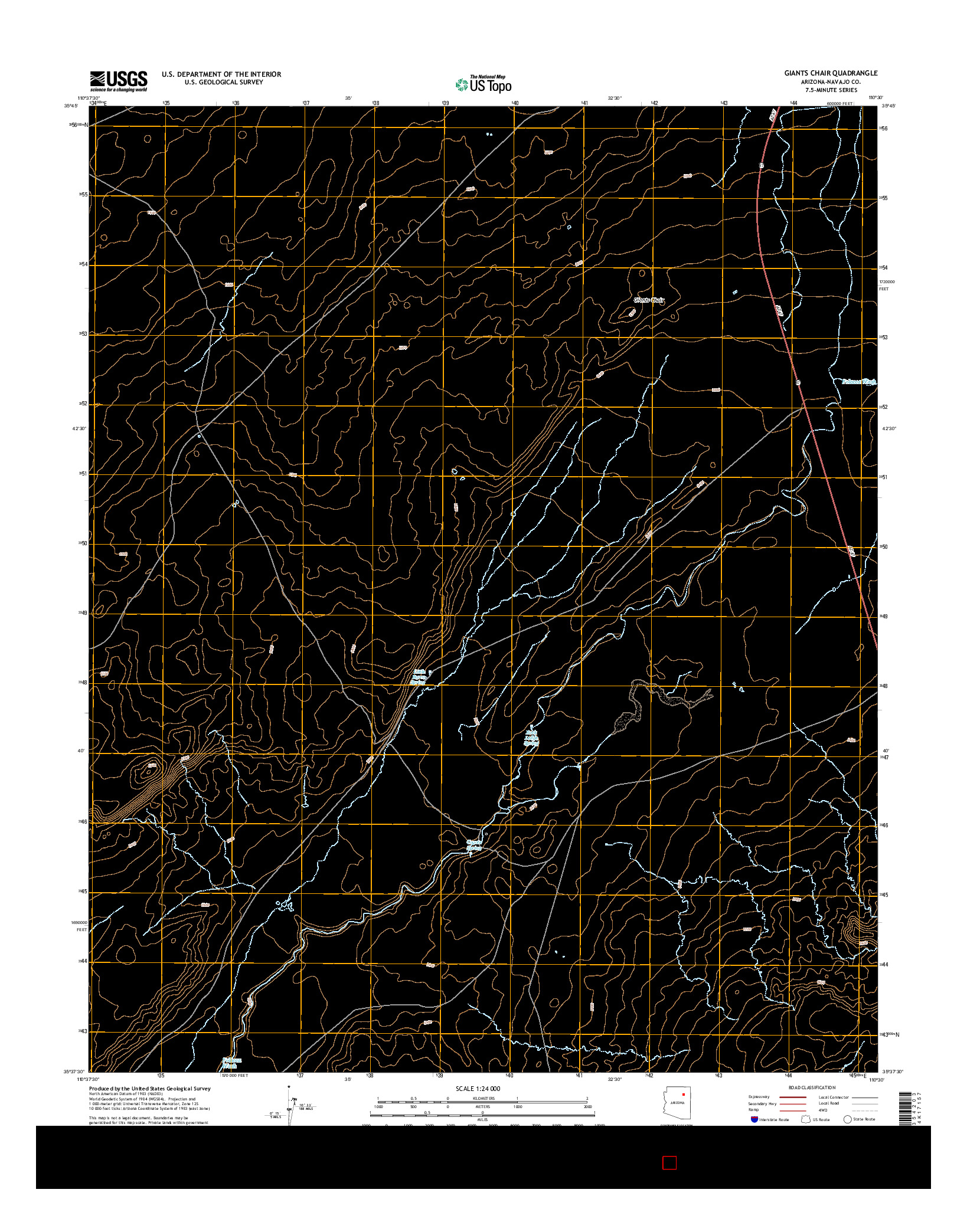 USGS US TOPO 7.5-MINUTE MAP FOR GIANTS CHAIR, AZ 2014