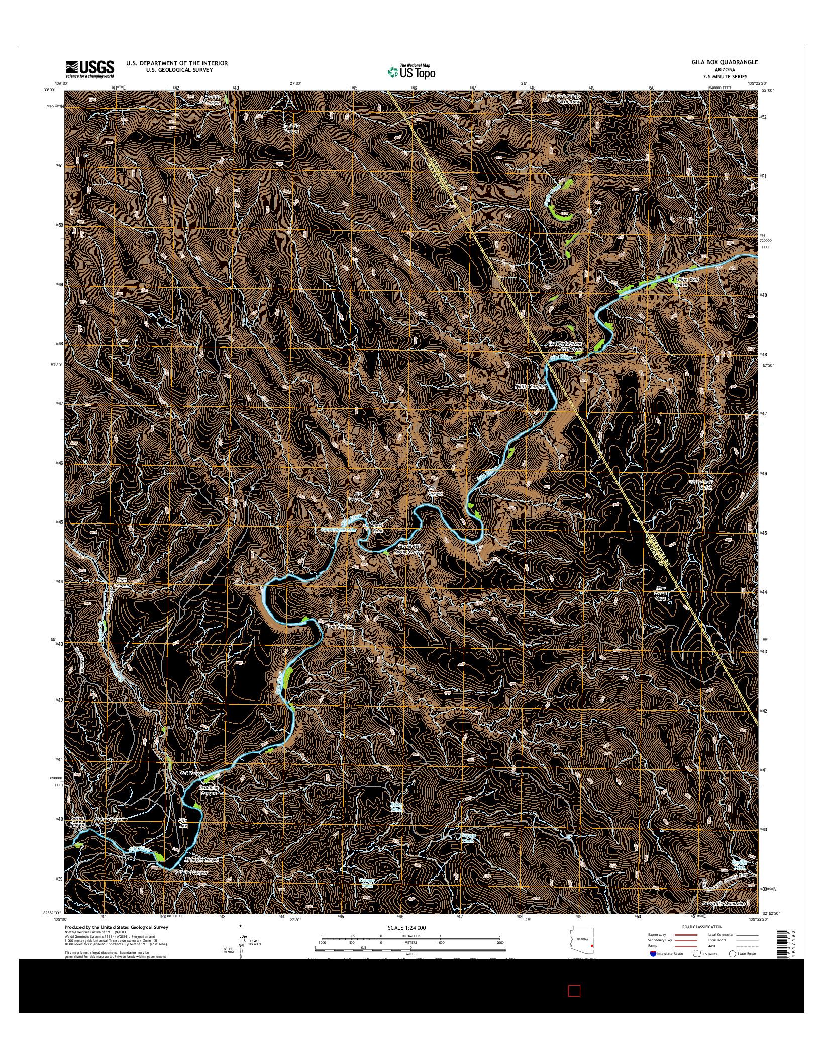 USGS US TOPO 7.5-MINUTE MAP FOR GILA BOX, AZ 2014