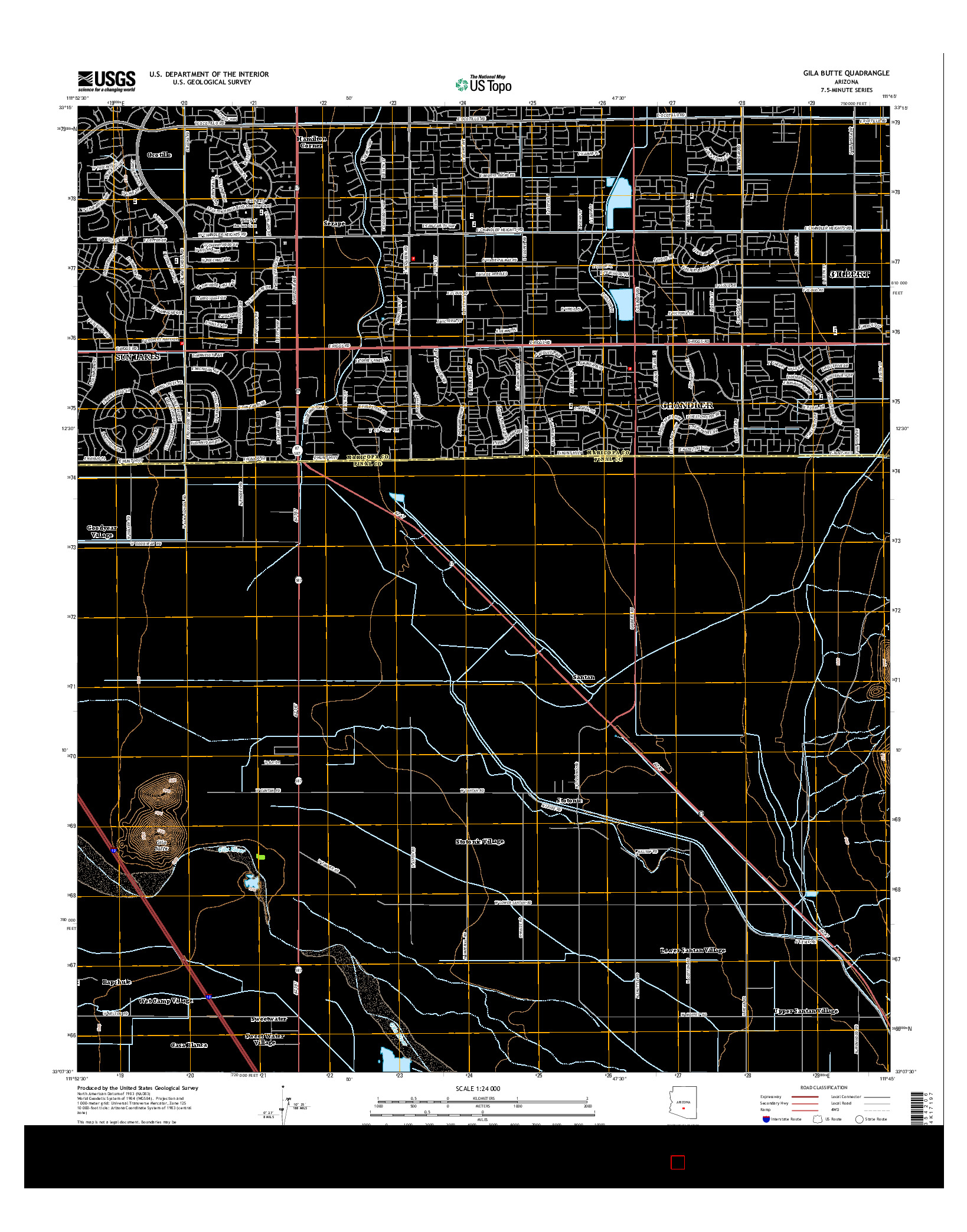USGS US TOPO 7.5-MINUTE MAP FOR GILA BUTTE, AZ 2014