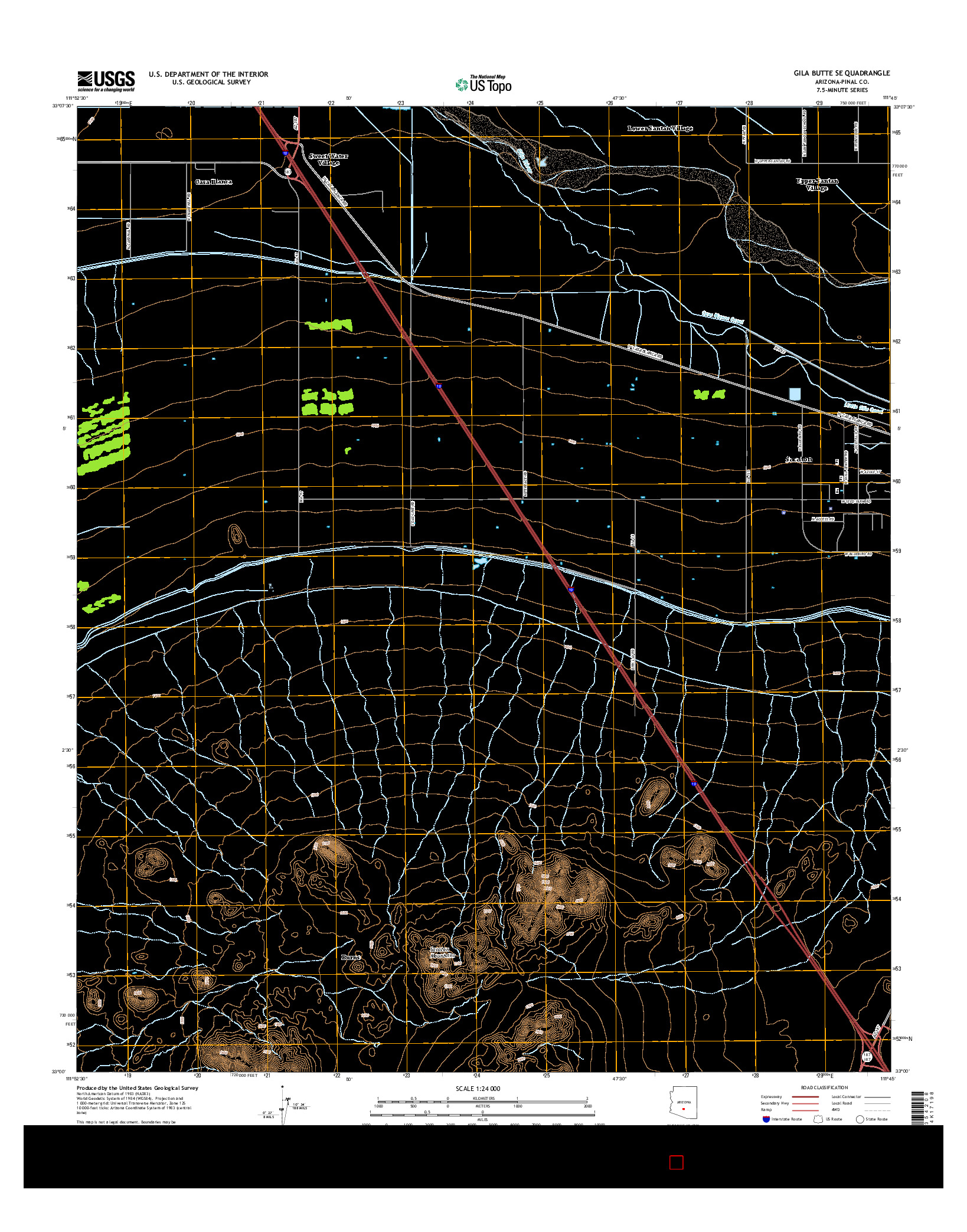 USGS US TOPO 7.5-MINUTE MAP FOR GILA BUTTE SE, AZ 2014