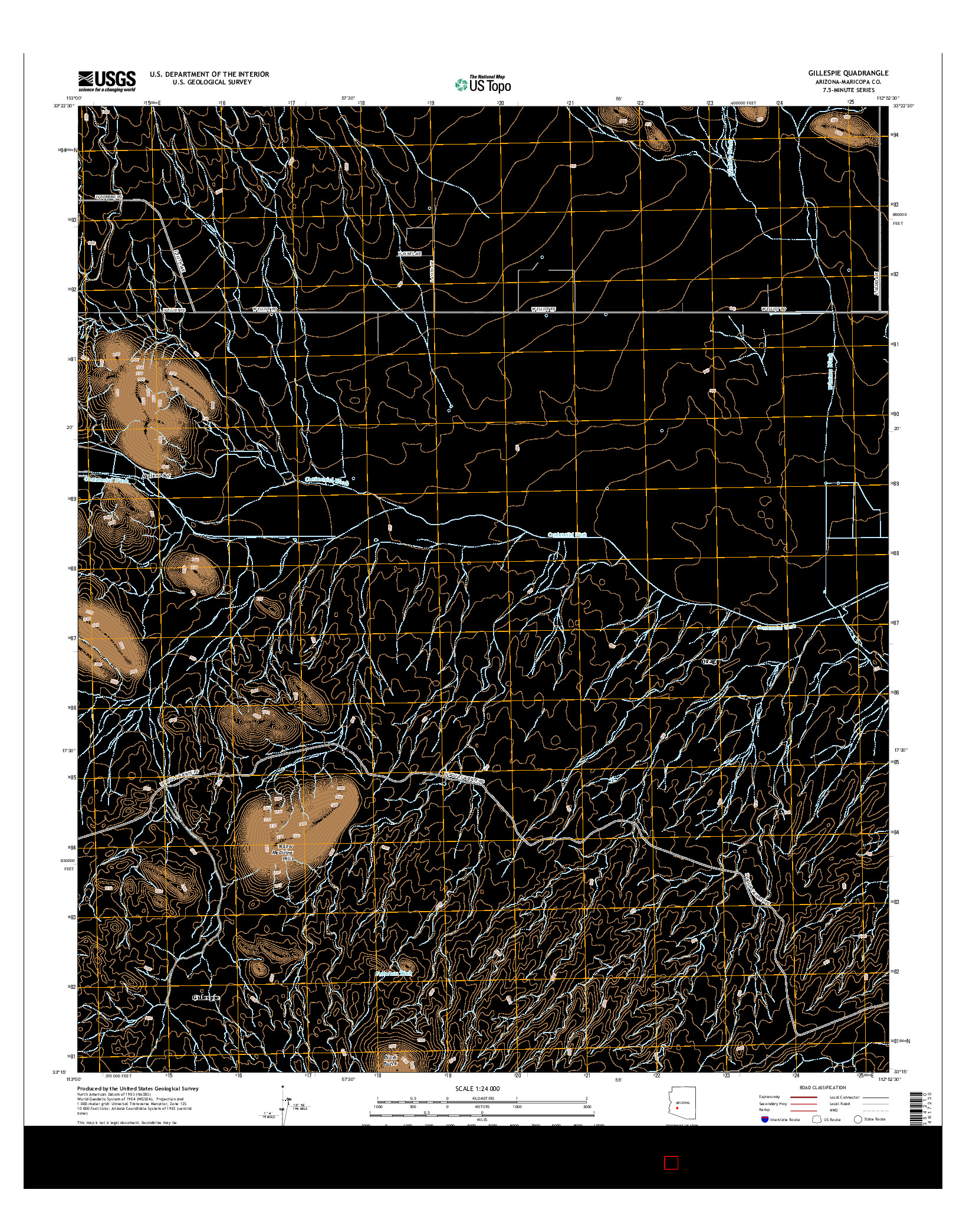 USGS US TOPO 7.5-MINUTE MAP FOR GILLESPIE, AZ 2014