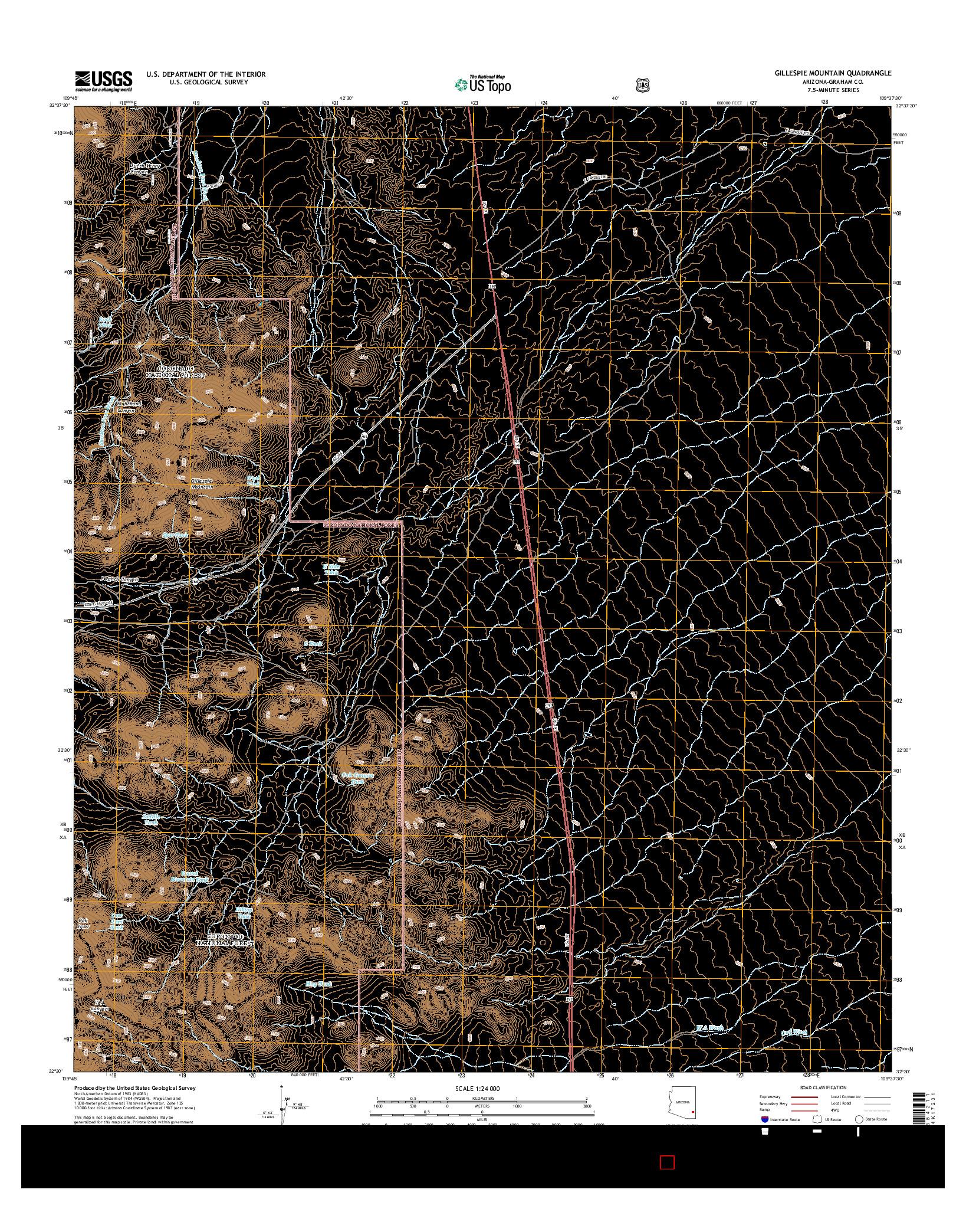 USGS US TOPO 7.5-MINUTE MAP FOR GILLESPIE MOUNTAIN, AZ 2014