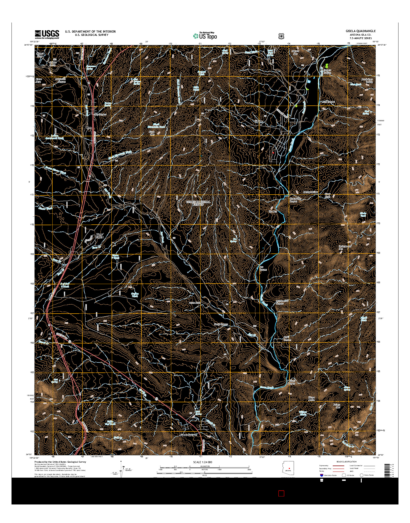 USGS US TOPO 7.5-MINUTE MAP FOR GISELA, AZ 2014