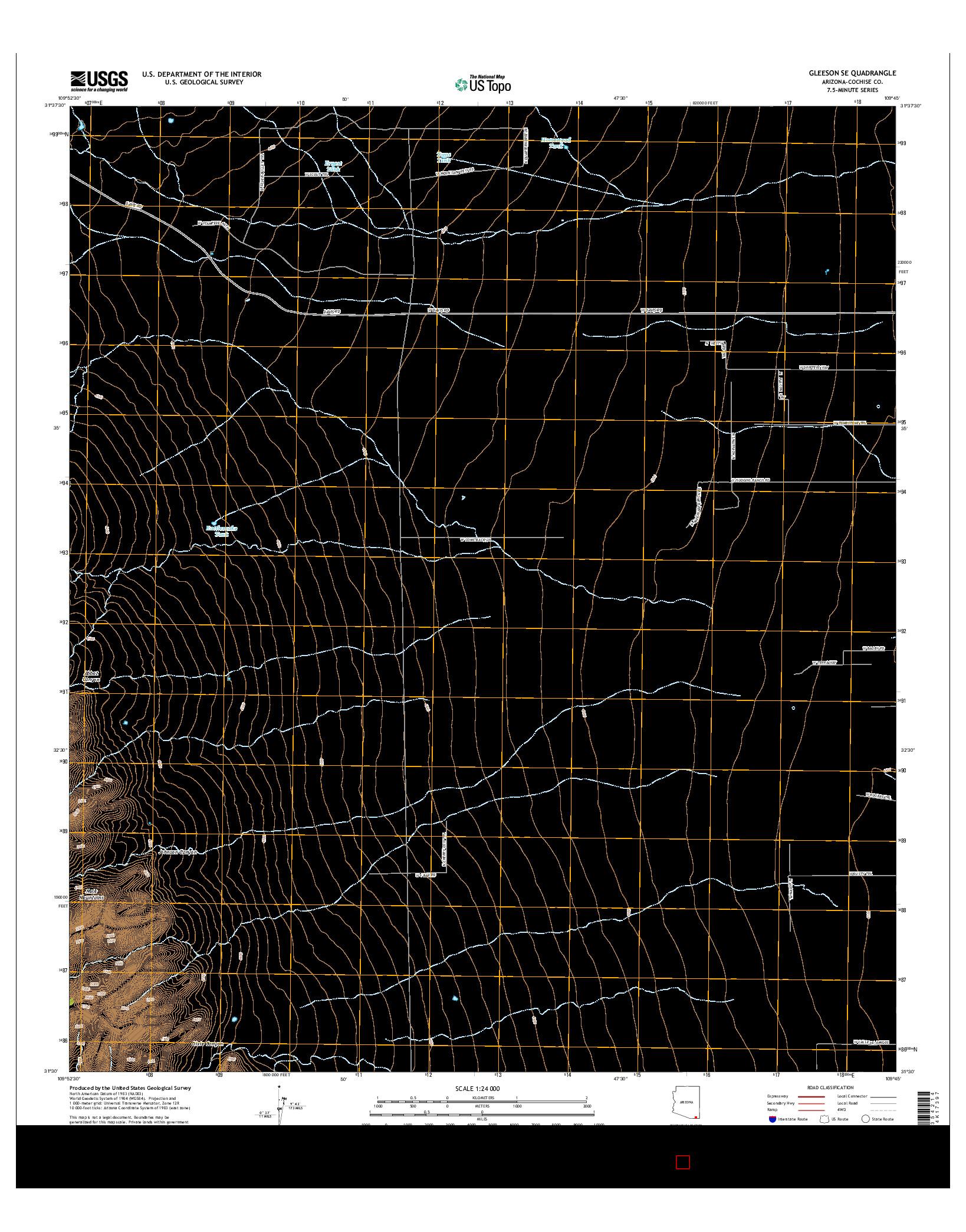 USGS US TOPO 7.5-MINUTE MAP FOR GLEESON SE, AZ 2014